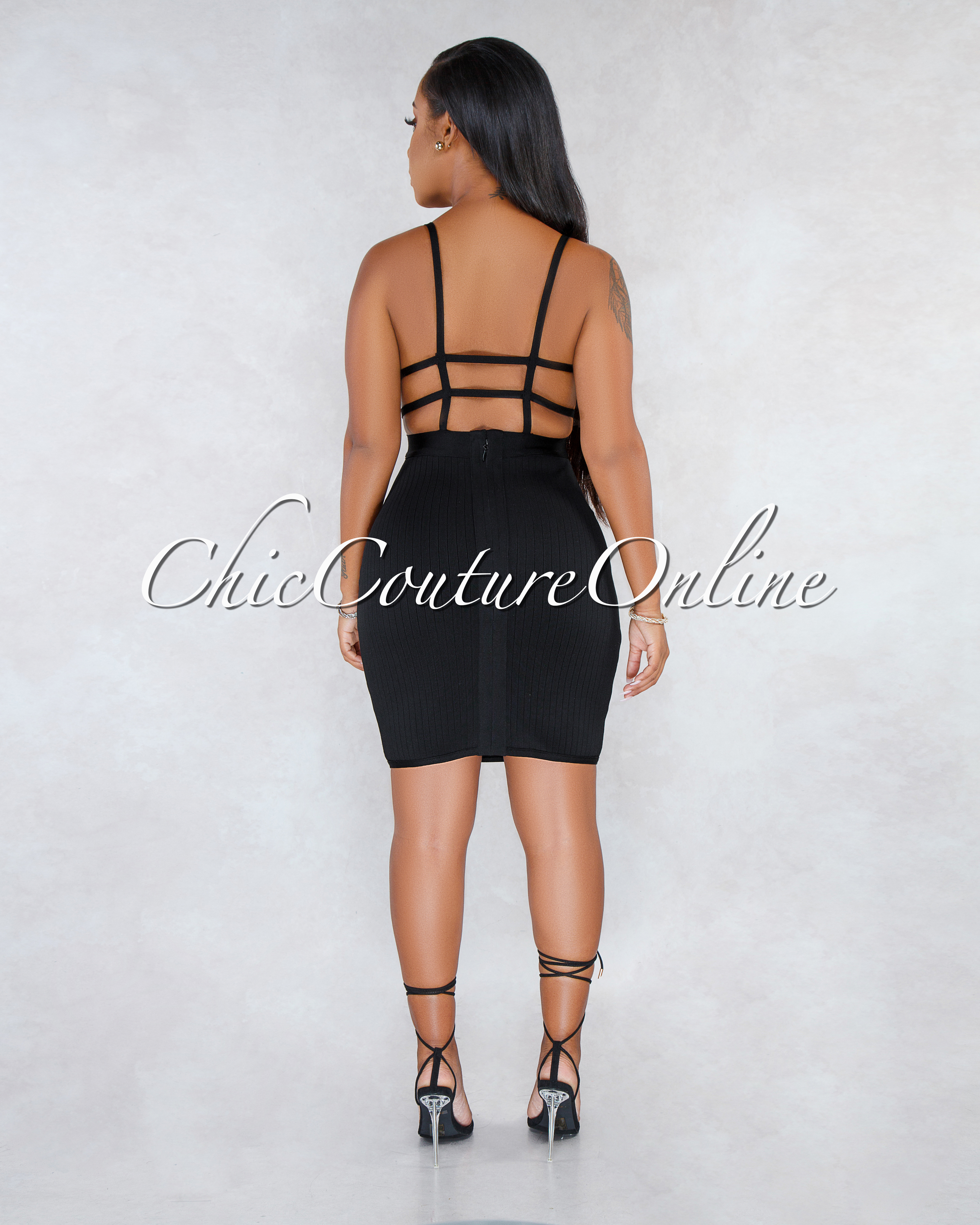 Kenzor Black Open Strappy Back Bandage Mini Dress