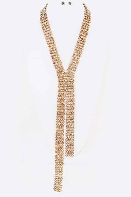 Archie Pavé Crystals Mesh Statement Necklace Set