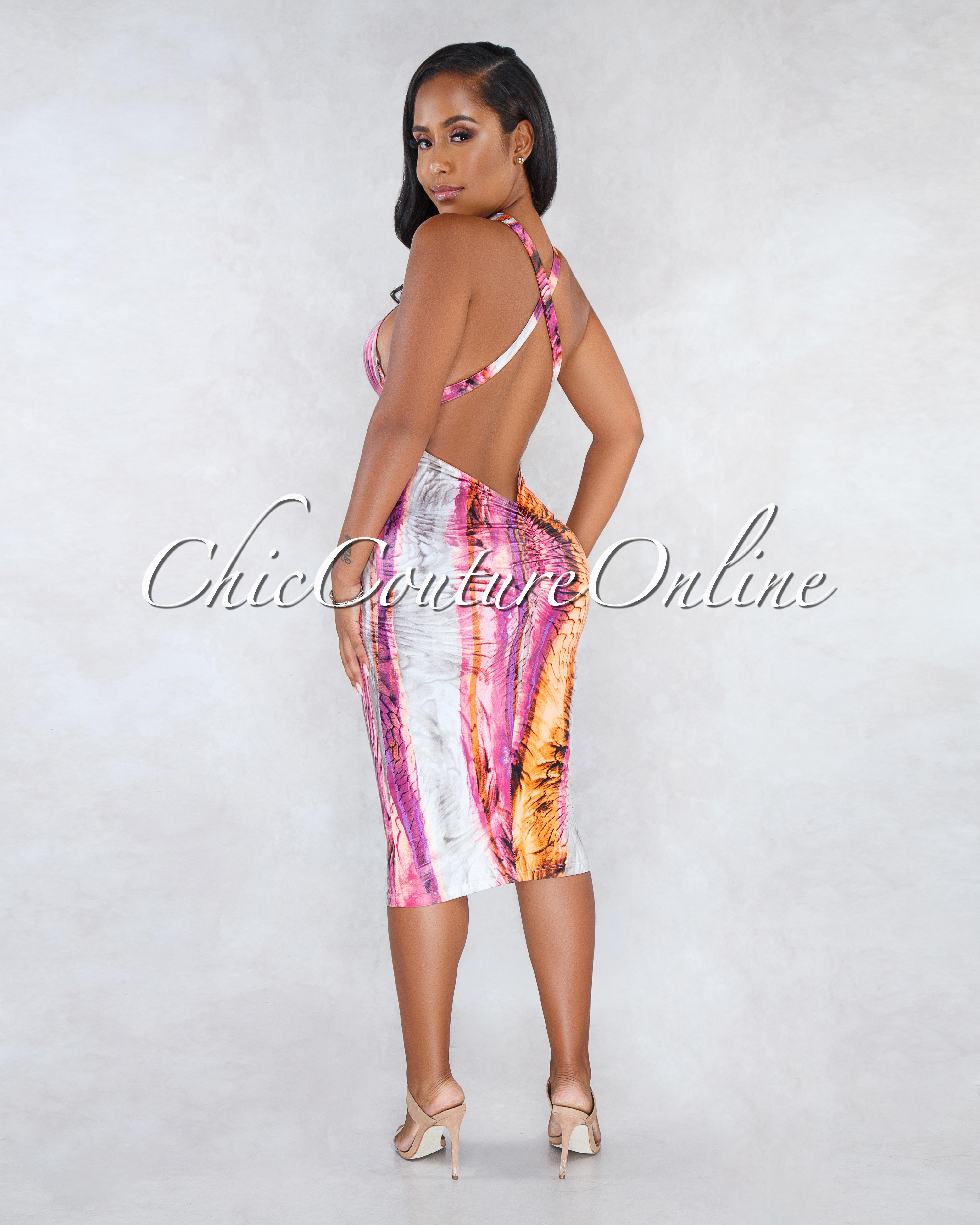 Formation Orange Nude Halter Ruched Back Midi Dress