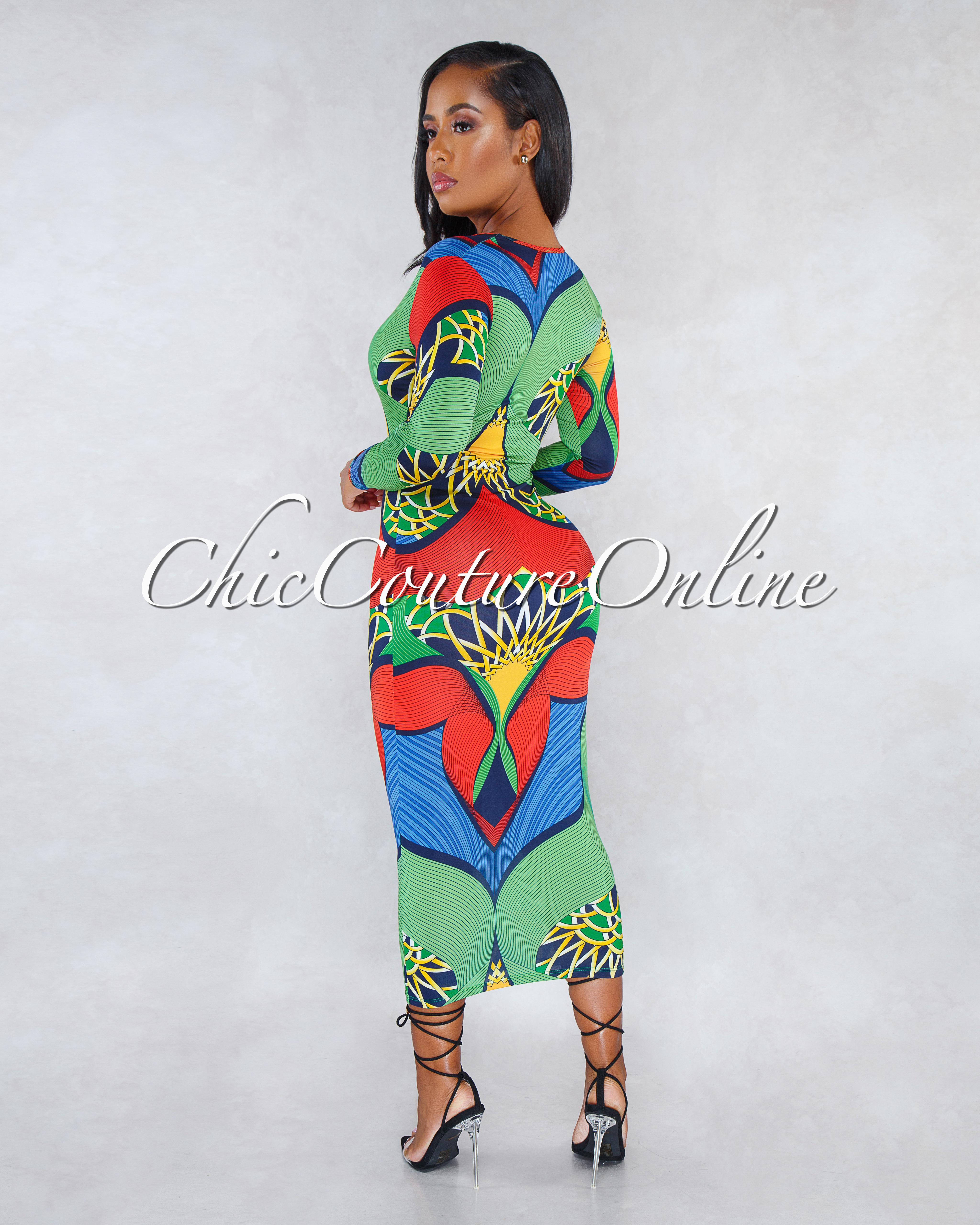 Kysa Green Red Multi-Color Print V-Neck CURVACEOUS Midi Dress