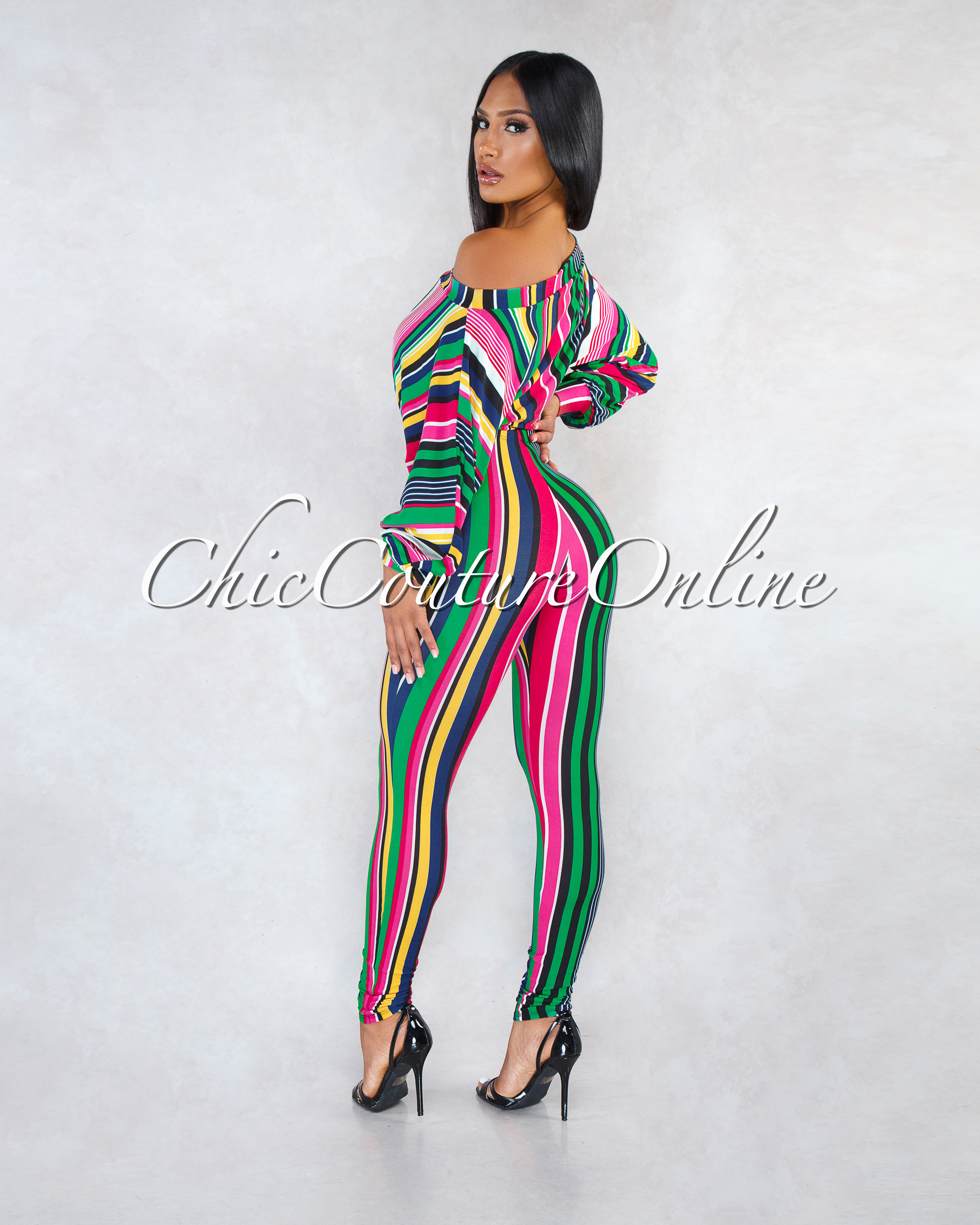 Millie Green Multi-Color Stripes Two Piece CURVACEOUS Set