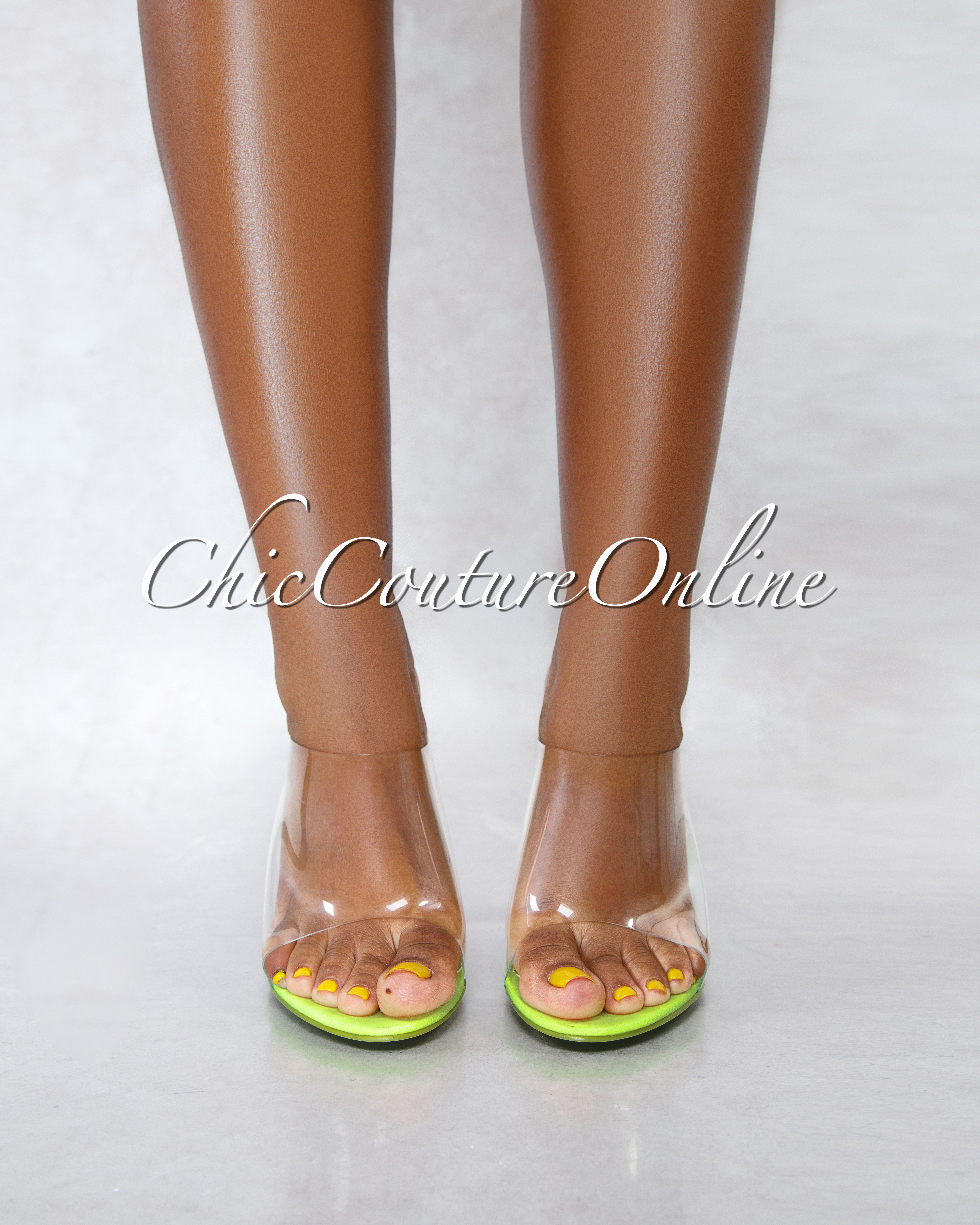 Lemonade Neon Lime Clear Upper Lucite Wedge