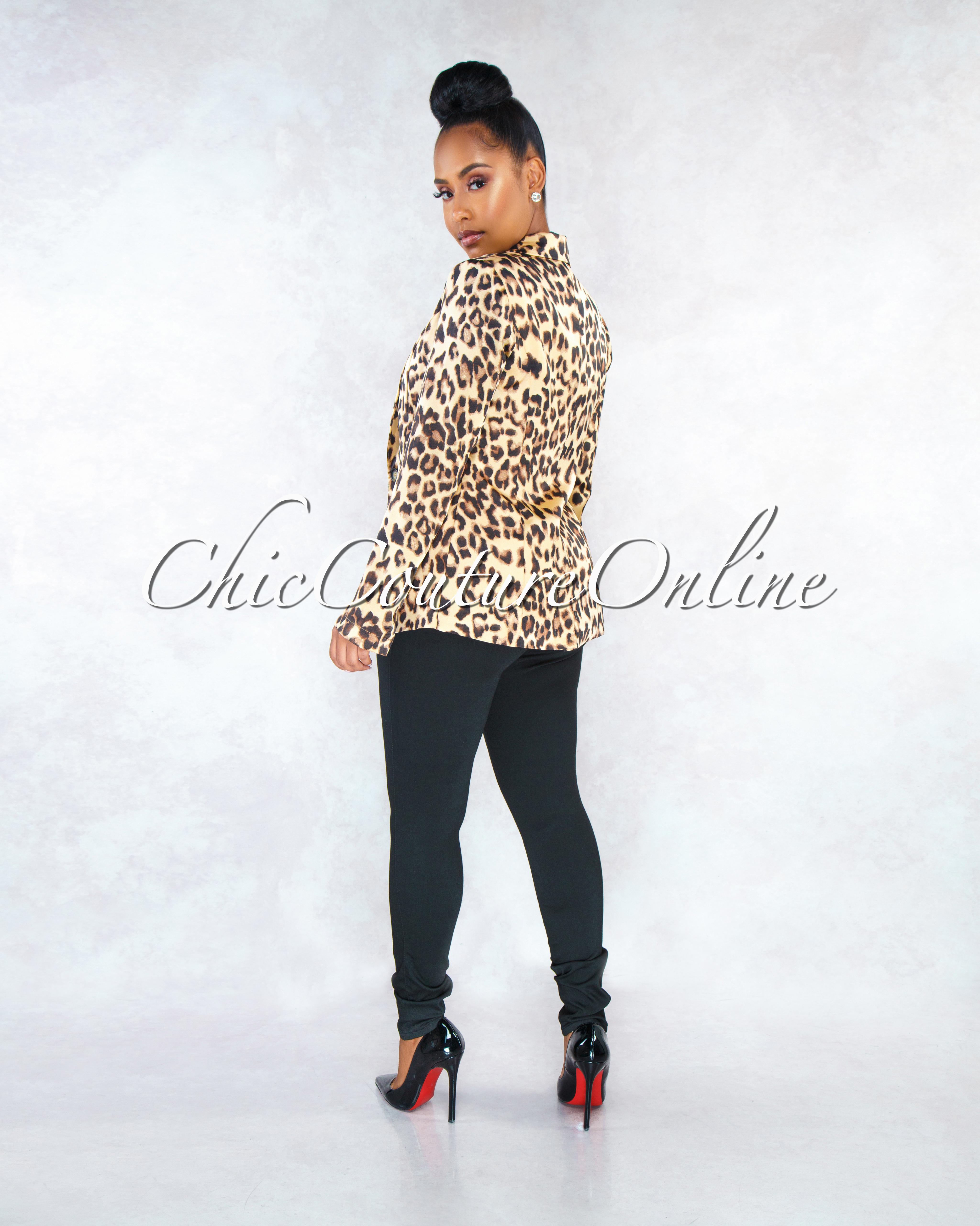 Latisha Leopard Print Trench Silky Blazer