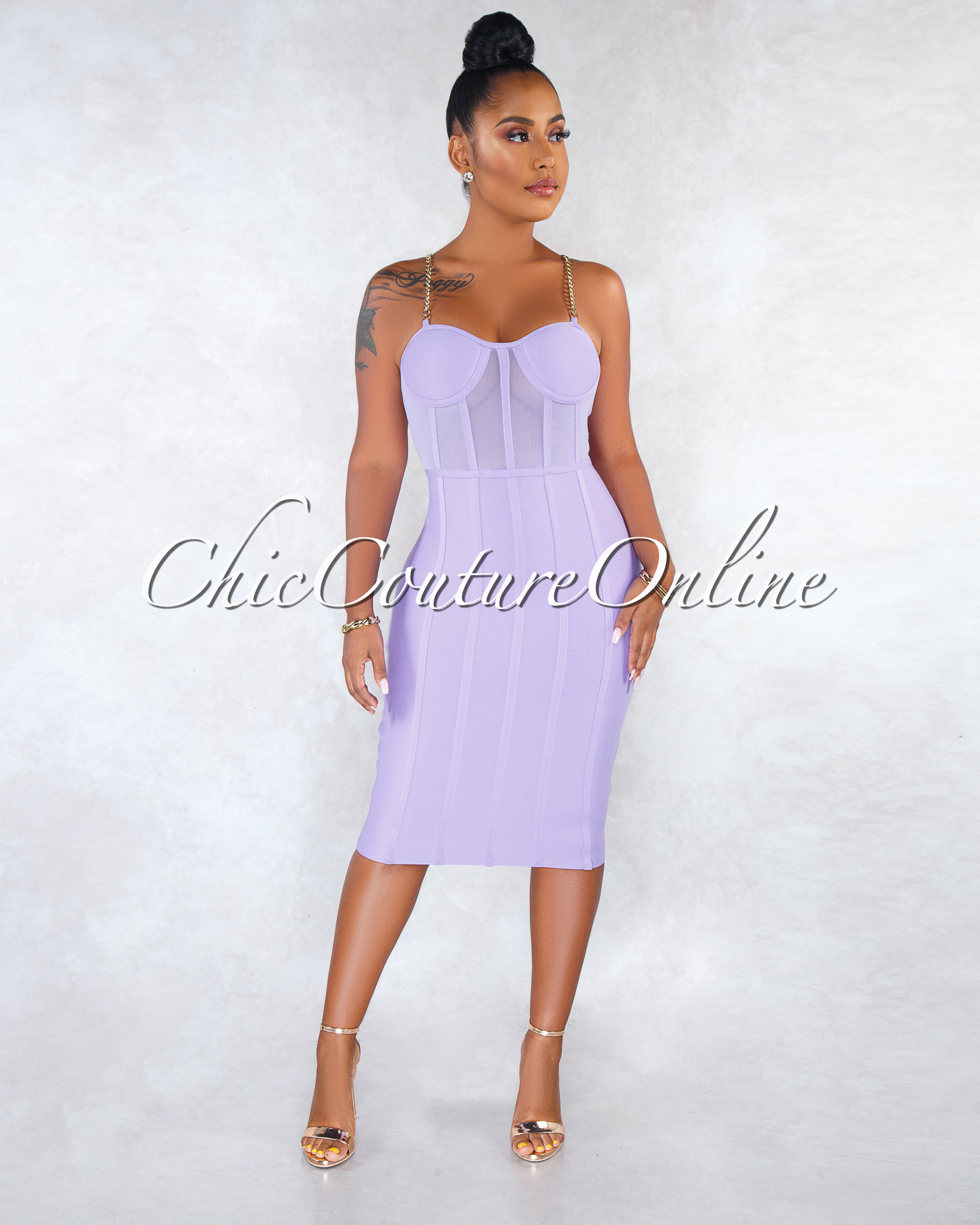 Keke Lavender Mesh Trim Gold Chain Bandage Dress