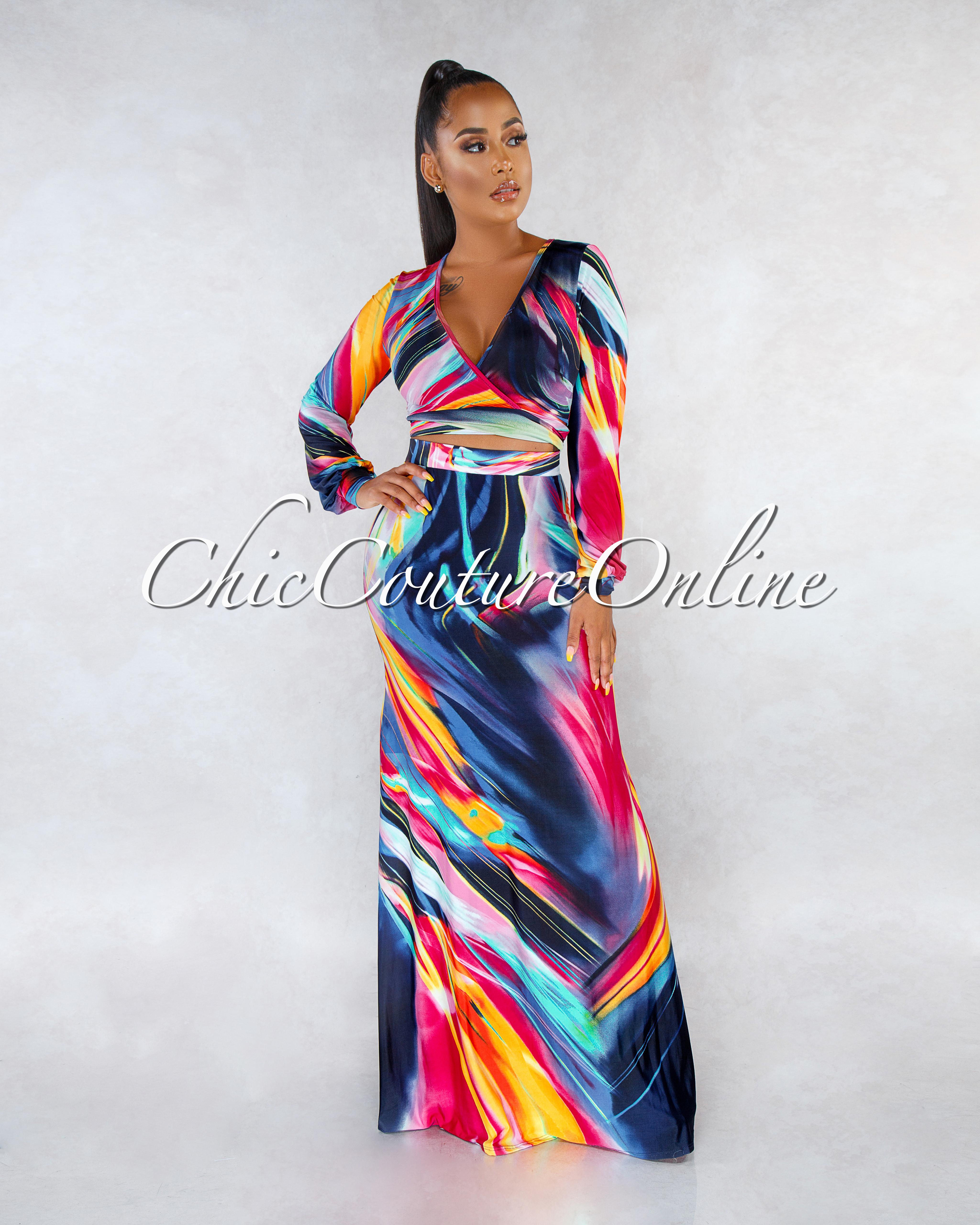 Dores Fuchsia Multi Color Print Two Piece Skirt Set