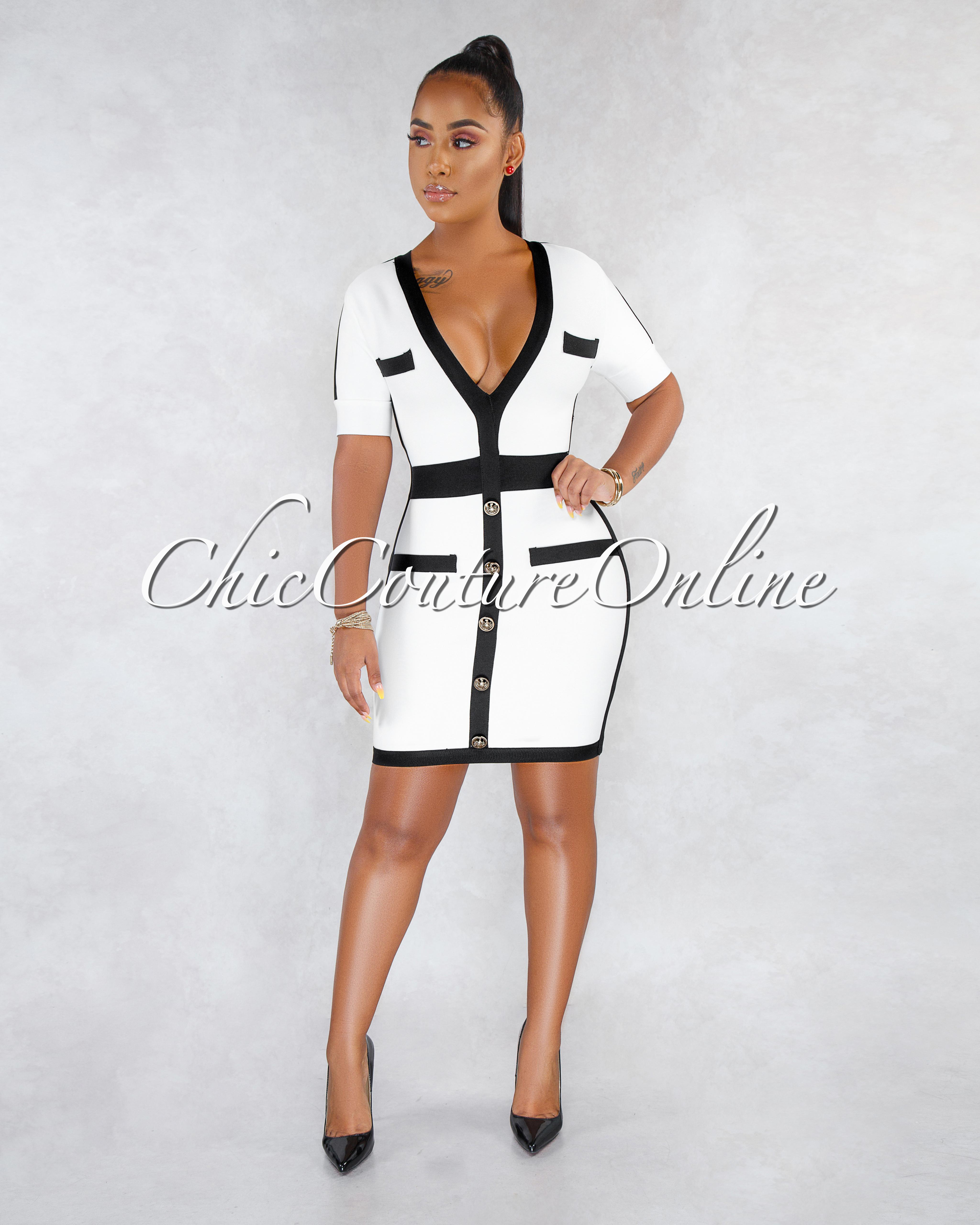 Emaya Off-White Black Trim Bandage Dress