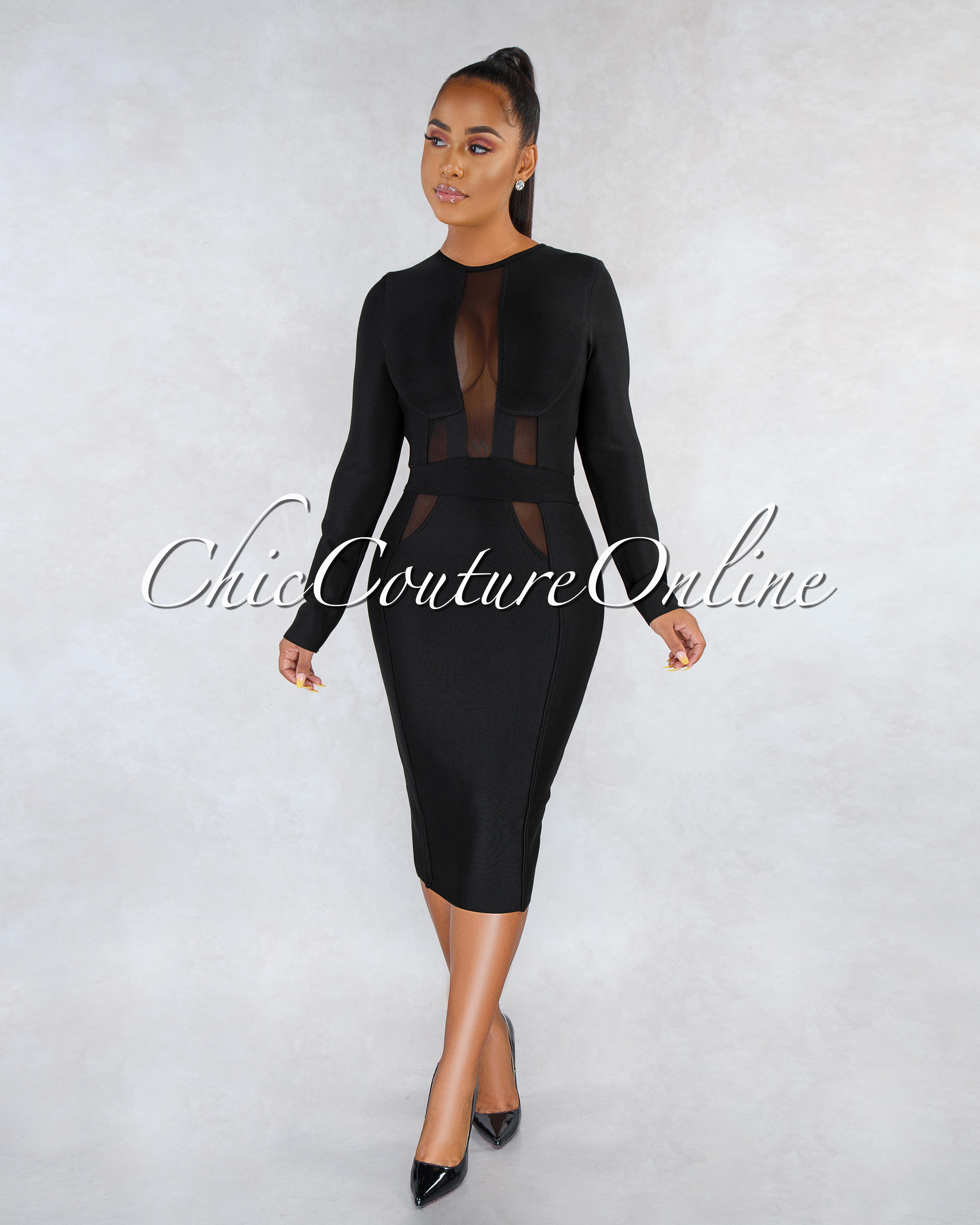 Farlane Black Mesh Details Bandage Midi Dress