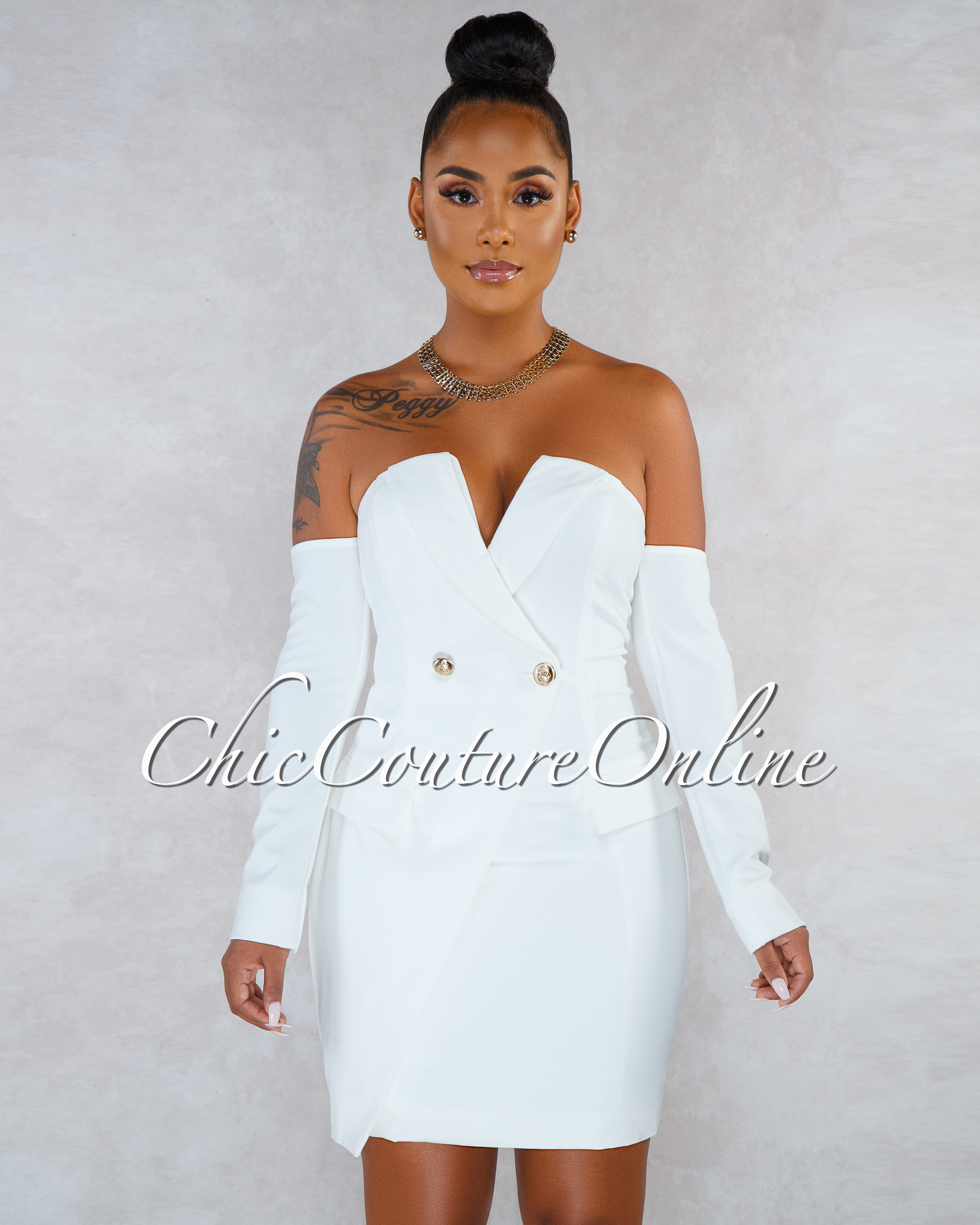 Cordoba Off-White Gold Buttons Trench Dress