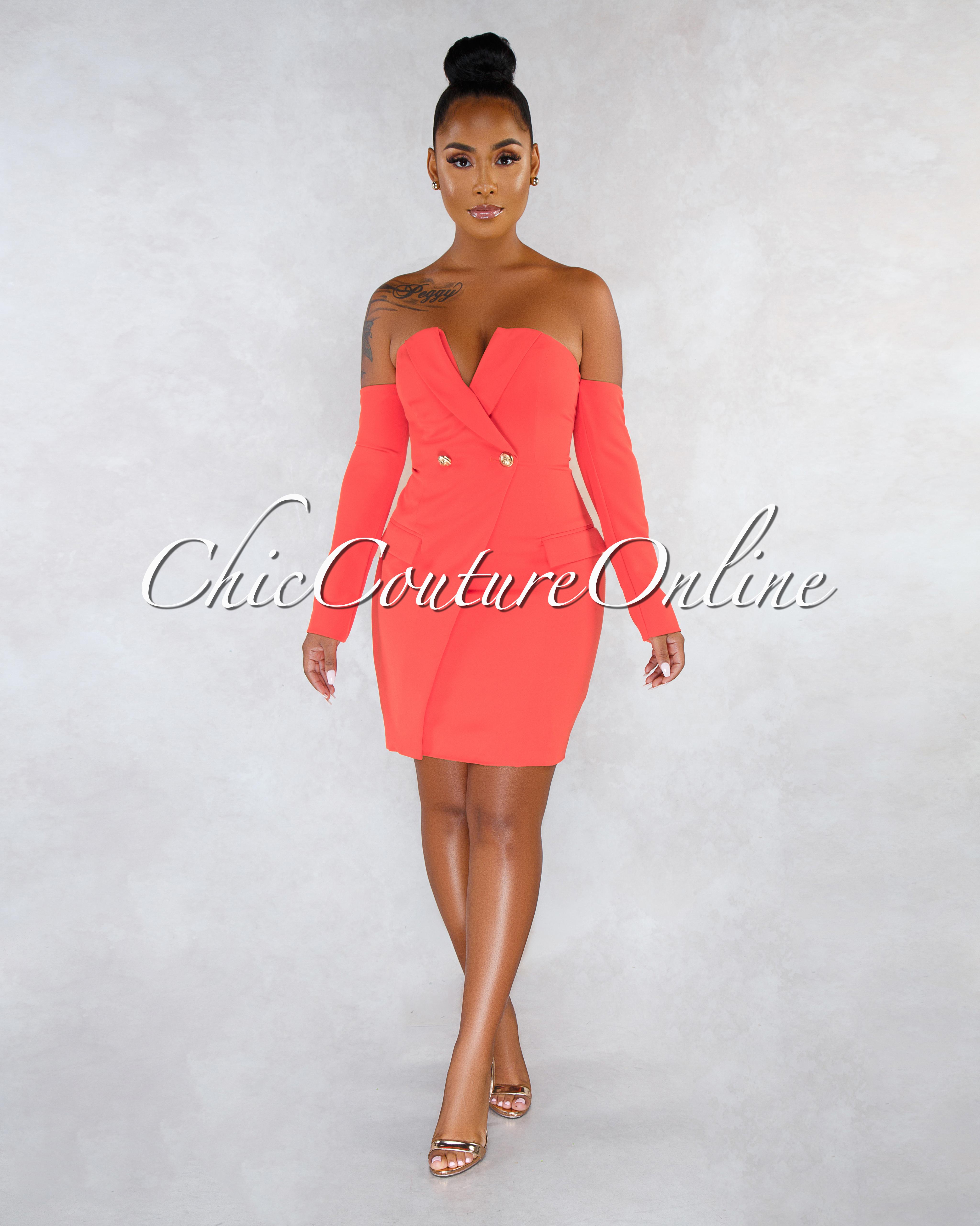 Cordoba Orange Gold Buttons Trench Dress
