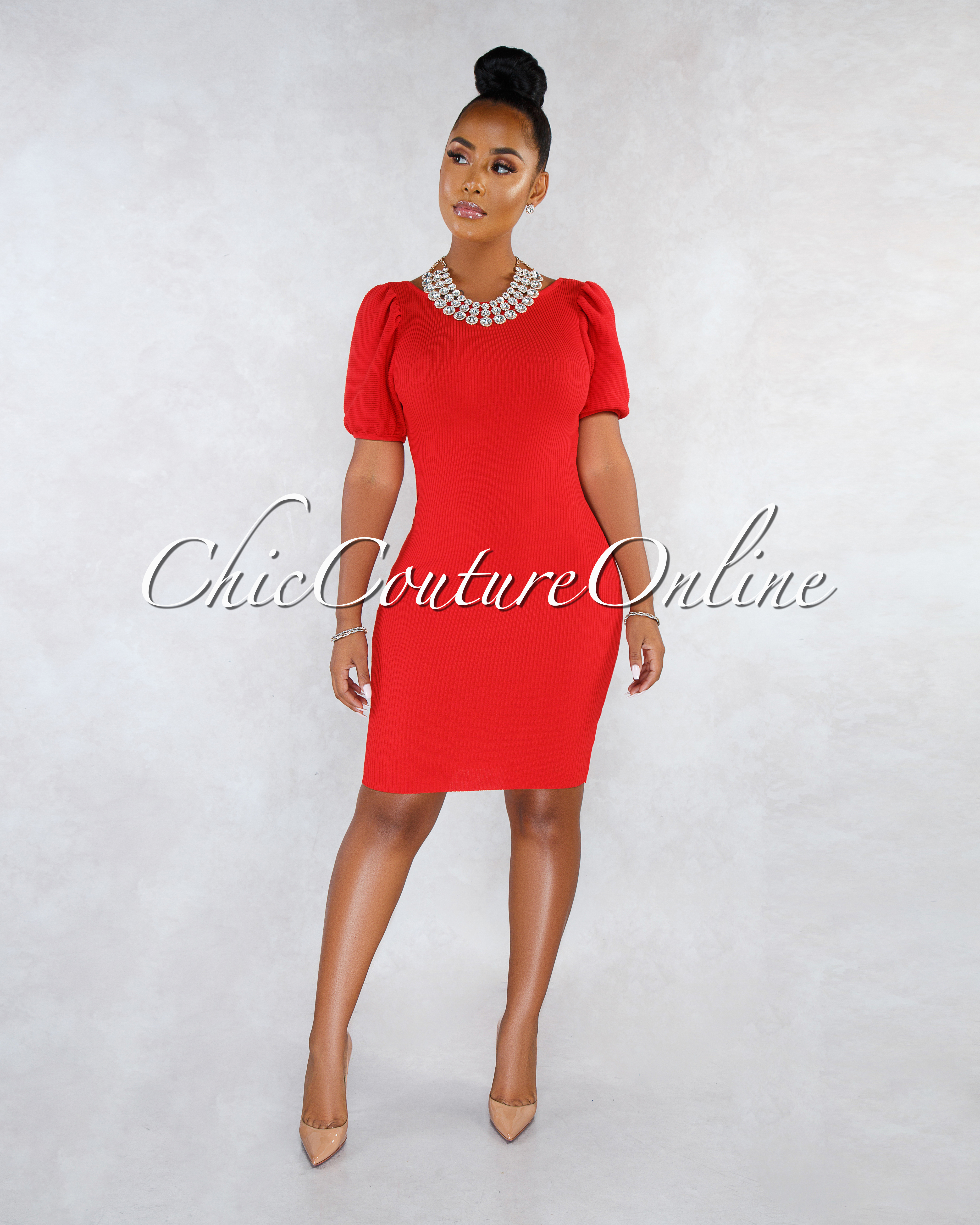 Mirandy Red Ribbed Puffy Sleeves Open Back Midi Dress