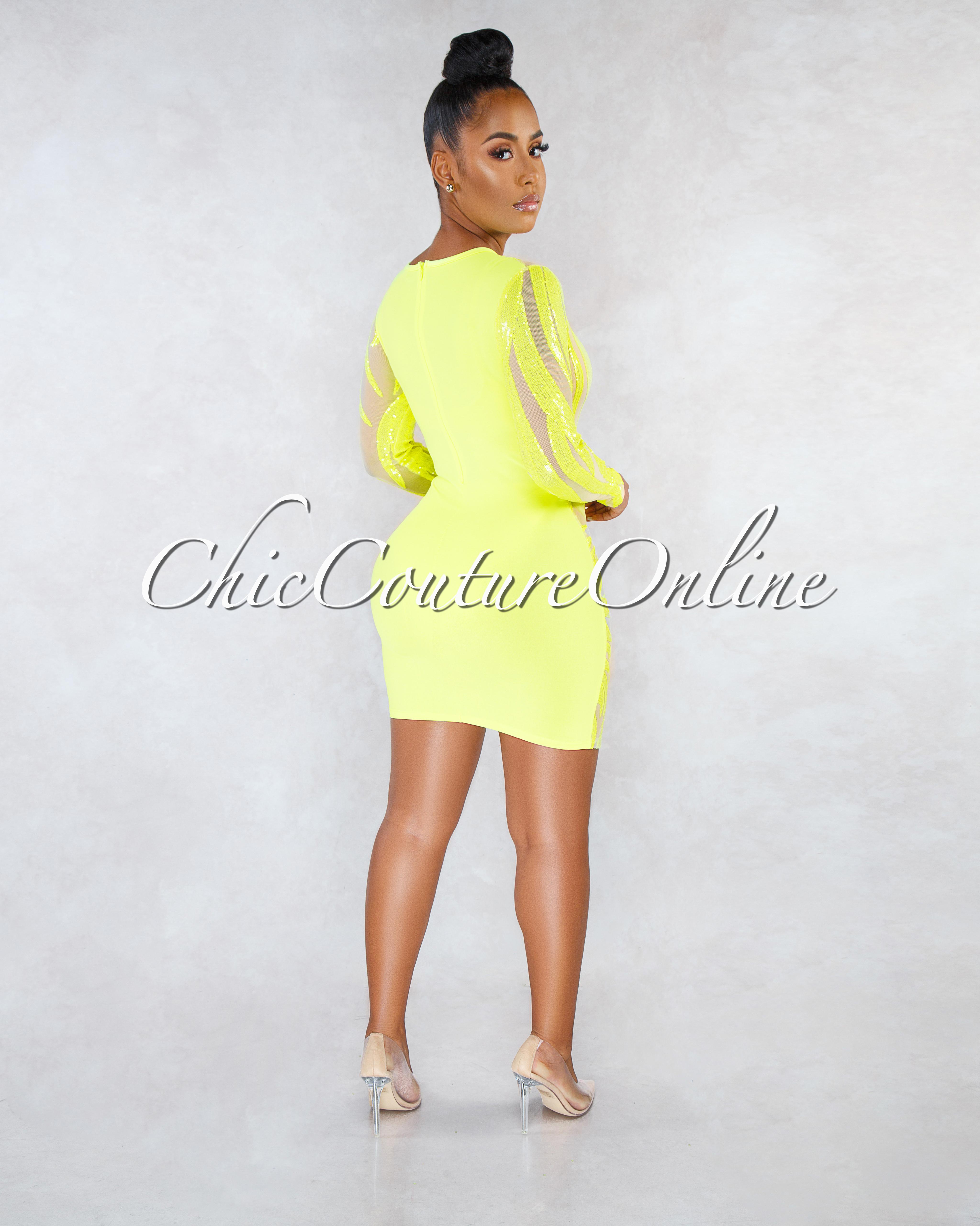 Marsha Nude Mesh Neon Yellow Sequins Sheer Dress