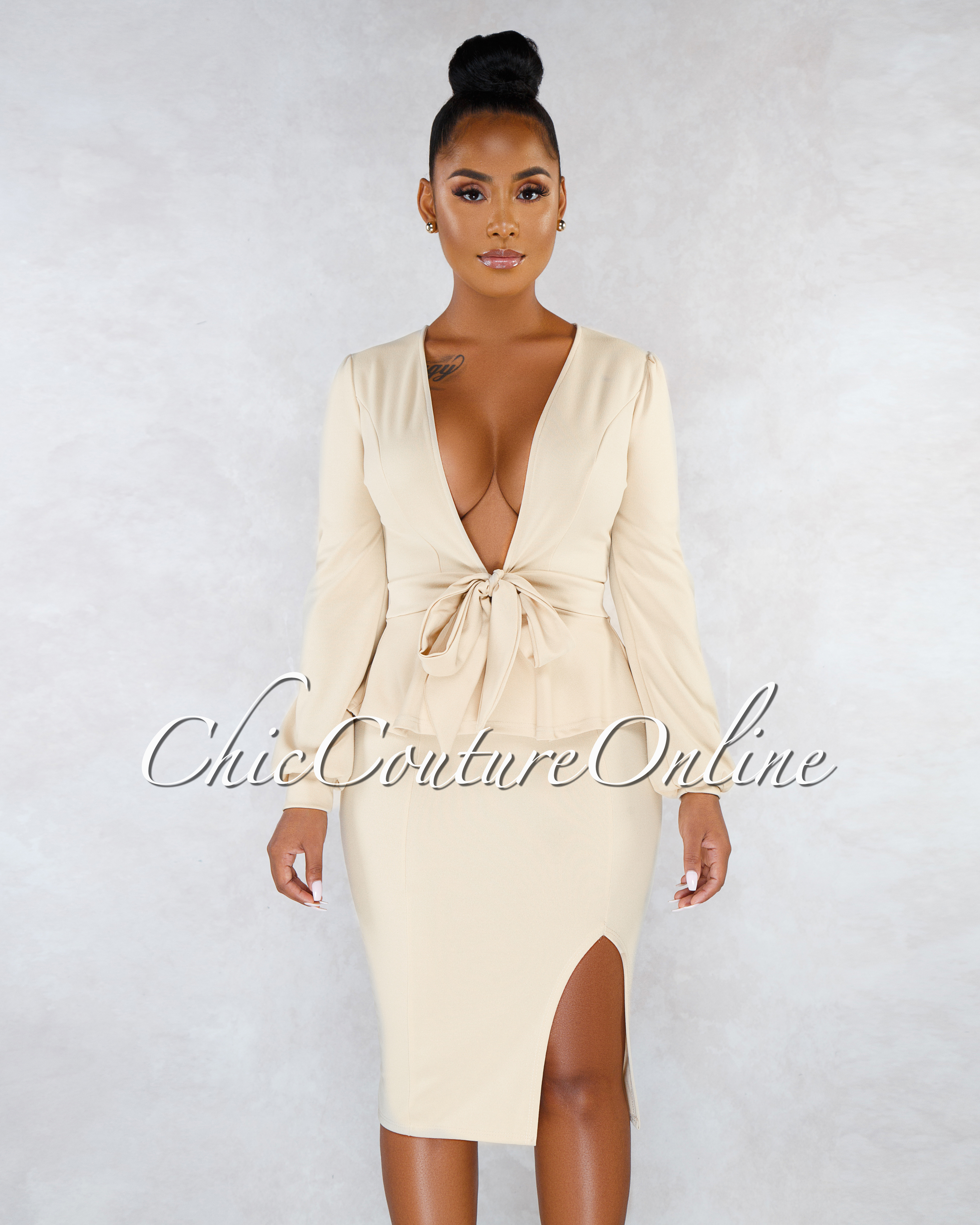 Chrissy Cream Front Tie Top Pencil Skirt Two Piece Set