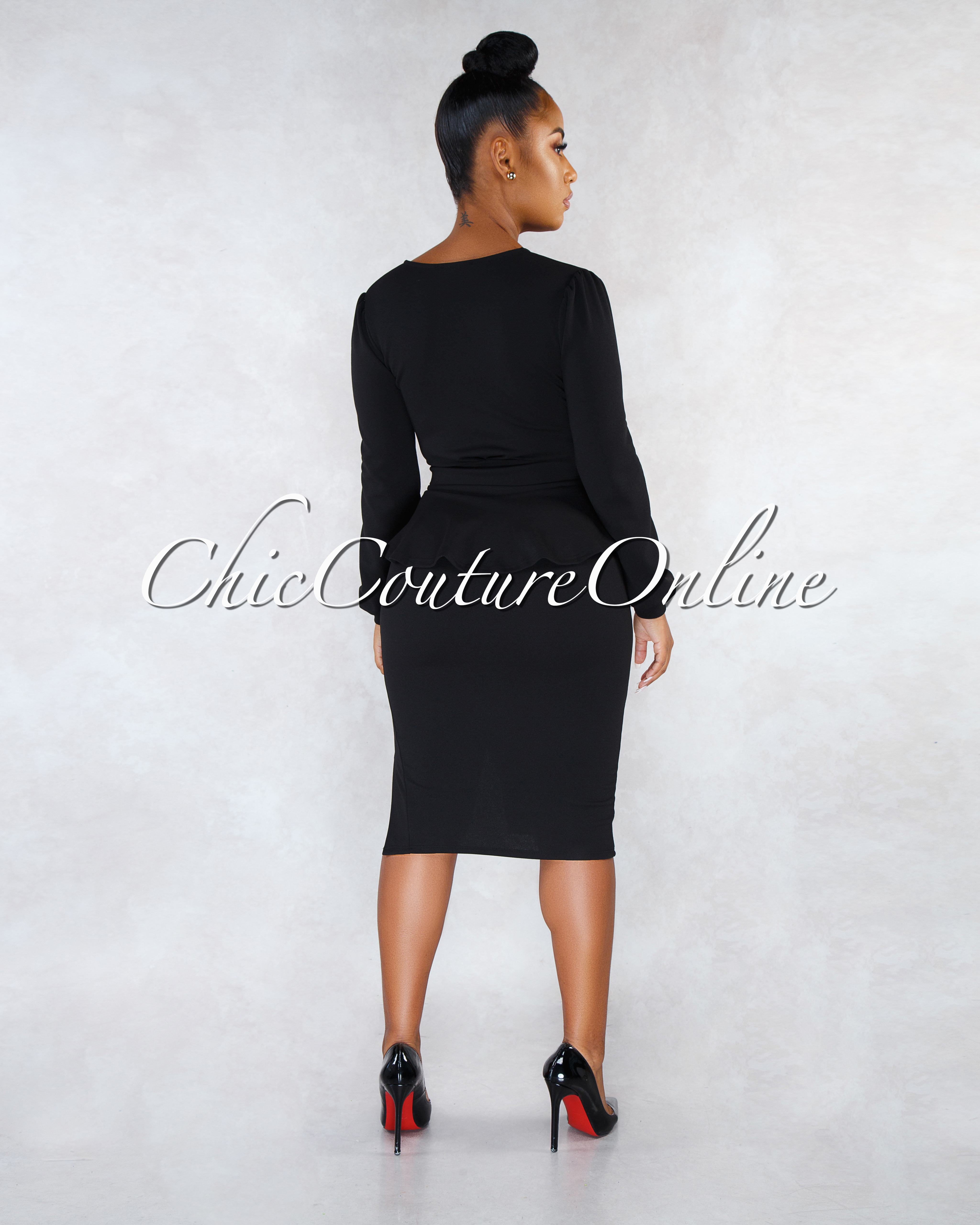 Chrissy Black Front Tie Top Pencil Skirt Two Piece Set