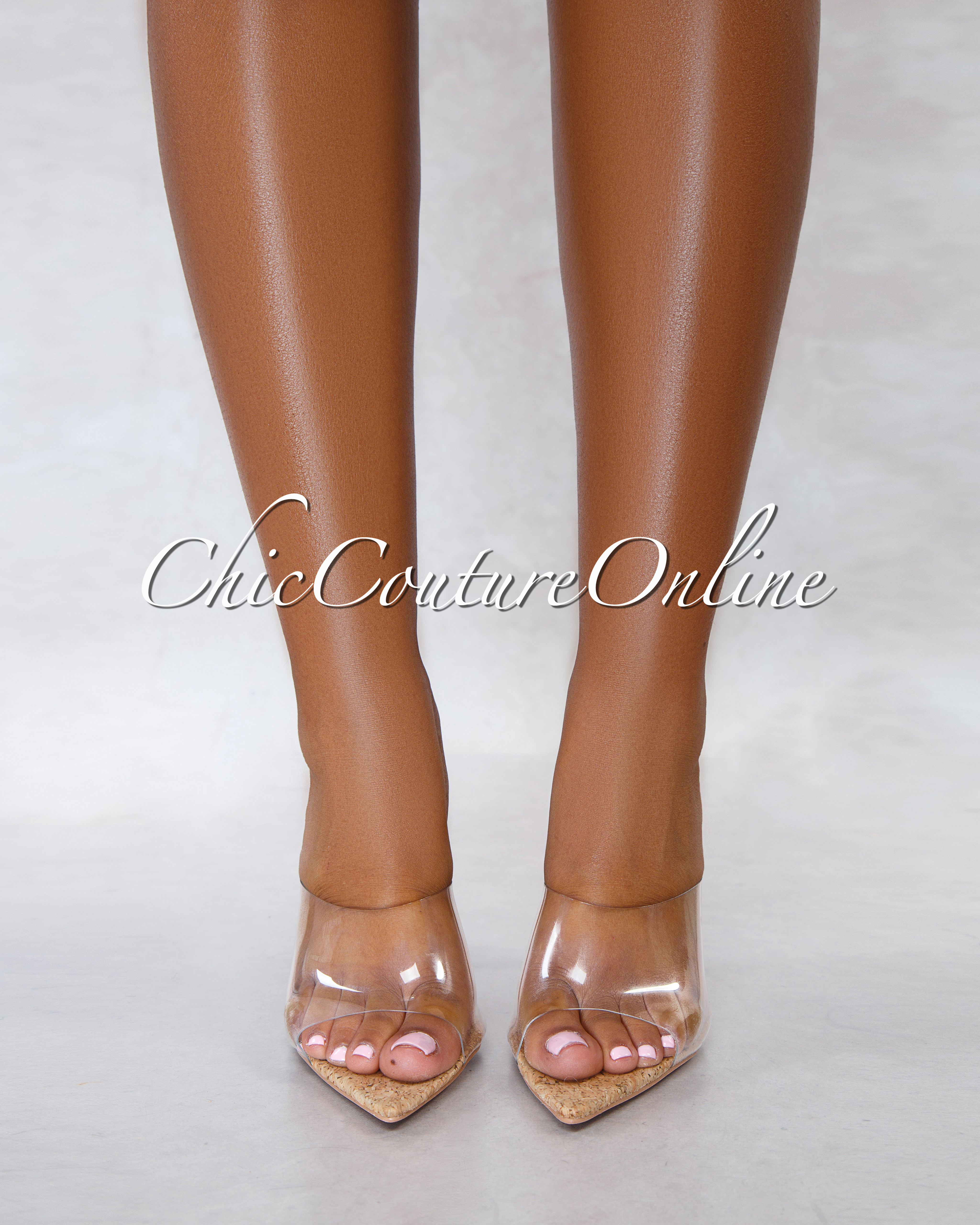 Melrose Cork Sole Clear Upper Pointed Toe Heels
