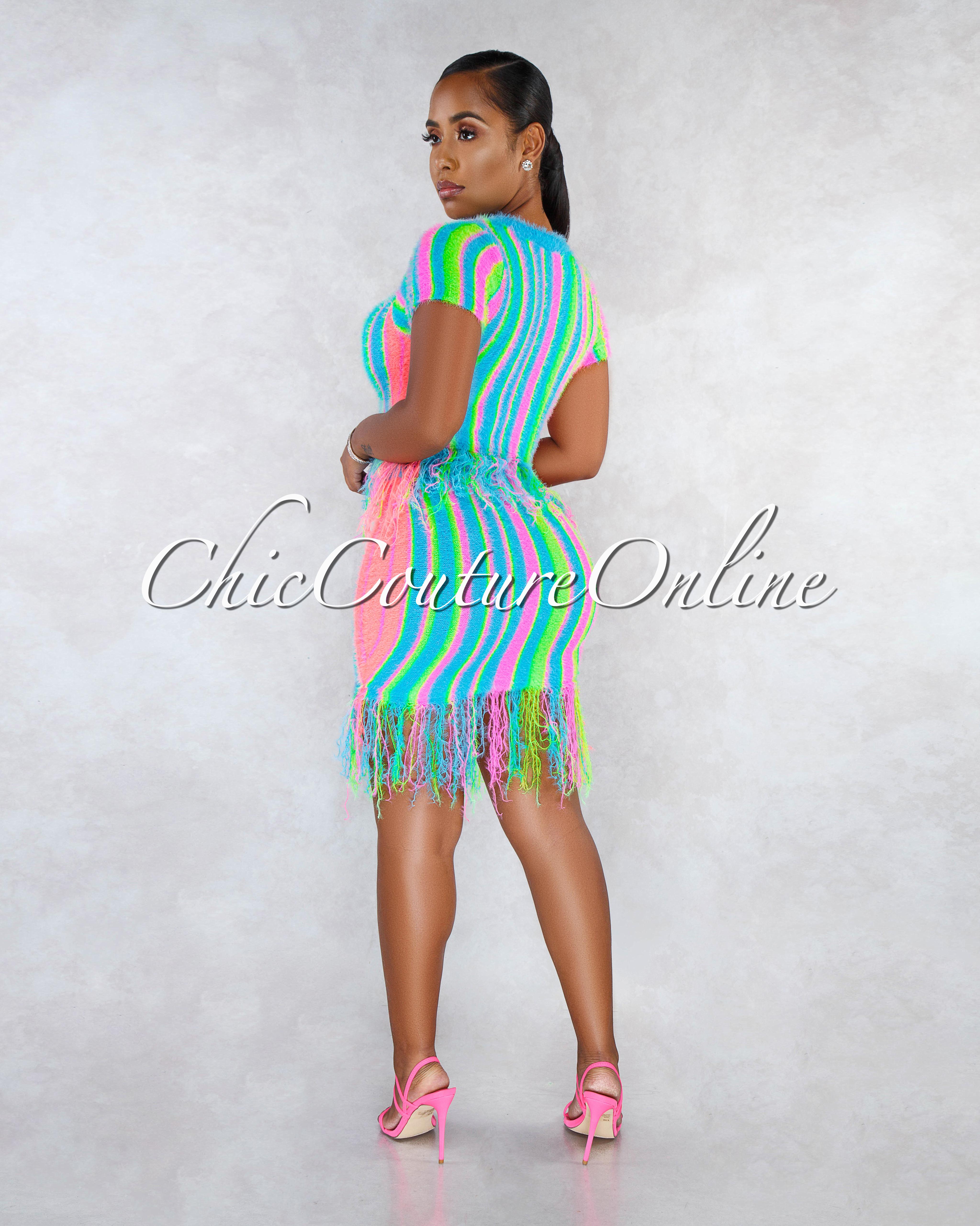 Cirse Multi-Color Neon Stripes Fury Fringe Two Piece Set