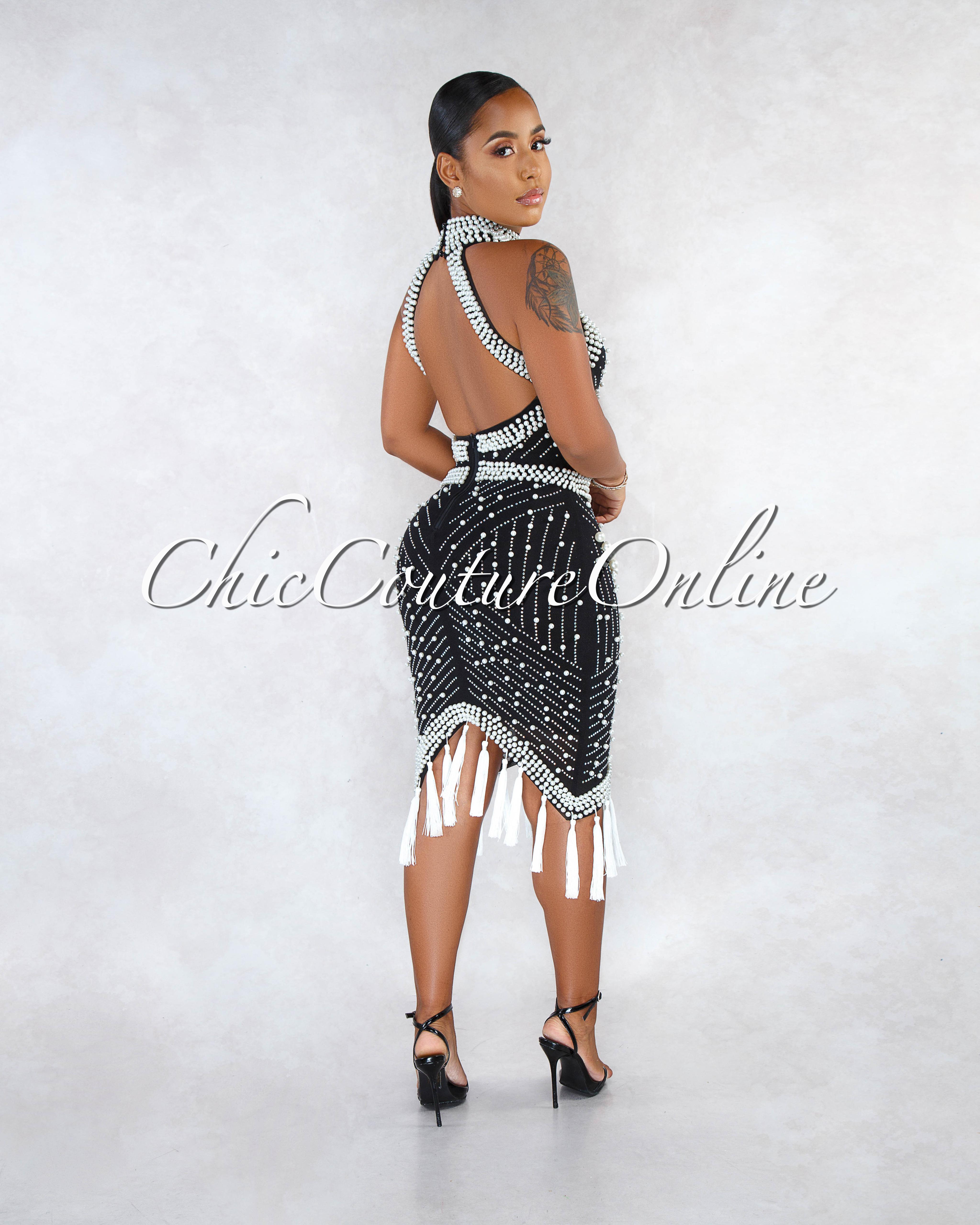 Milta Black Iridescent Rhinestone Pearl Tassel Accent Dress
