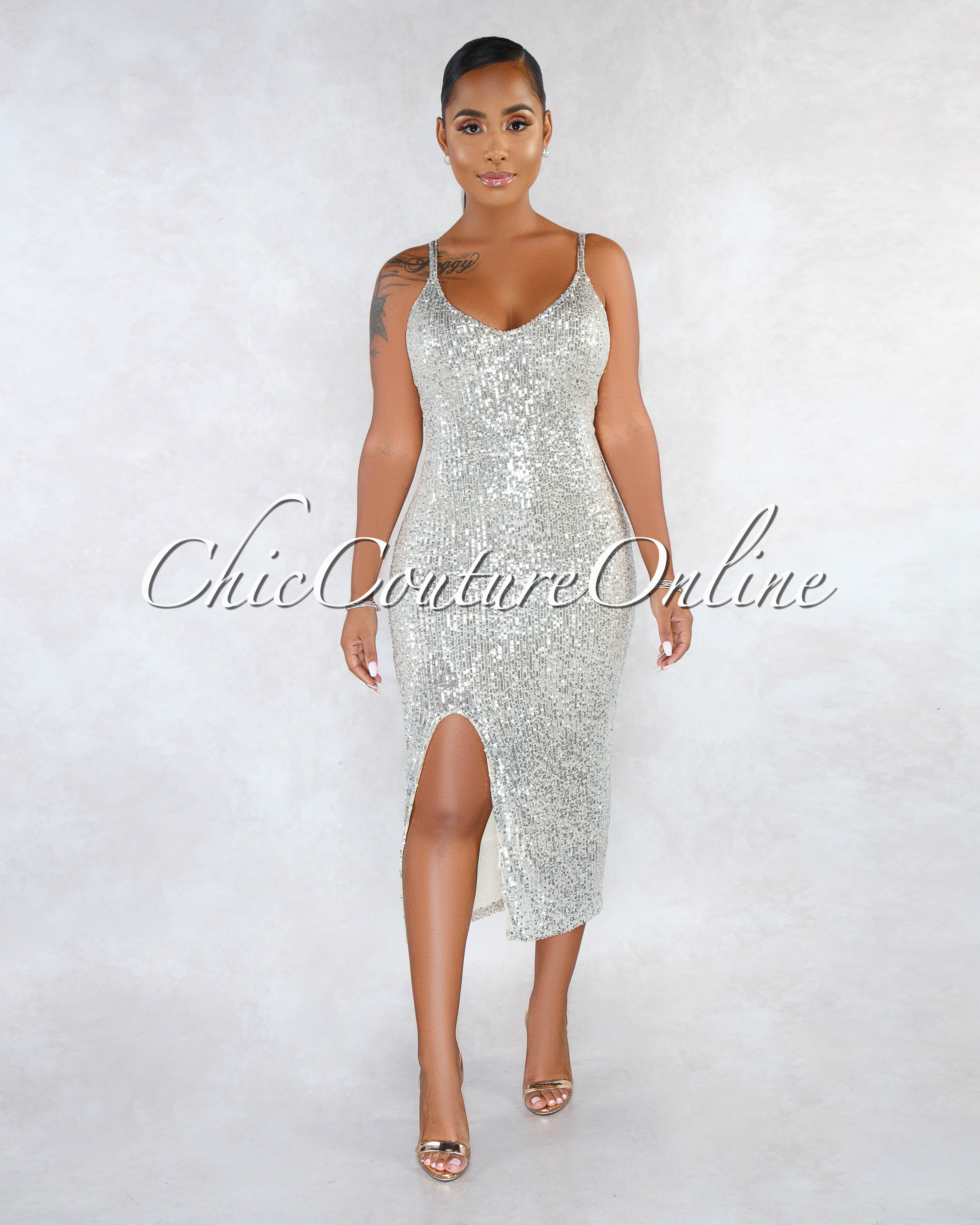 Cerinea Nude Silver Sequins Side Slit Midi Dress