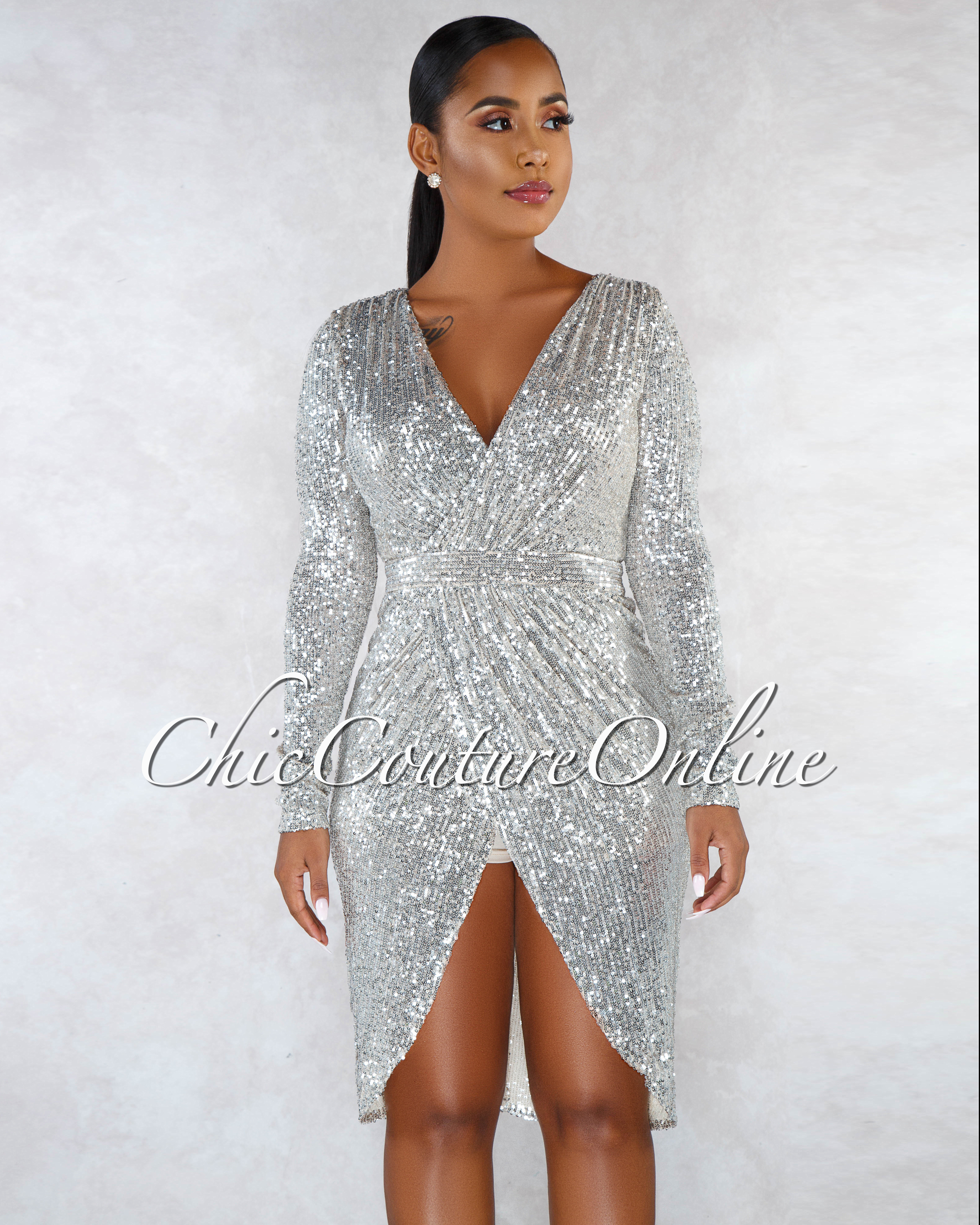 Gabina Nude Silver Sequins Romper Wrap Midi Dress