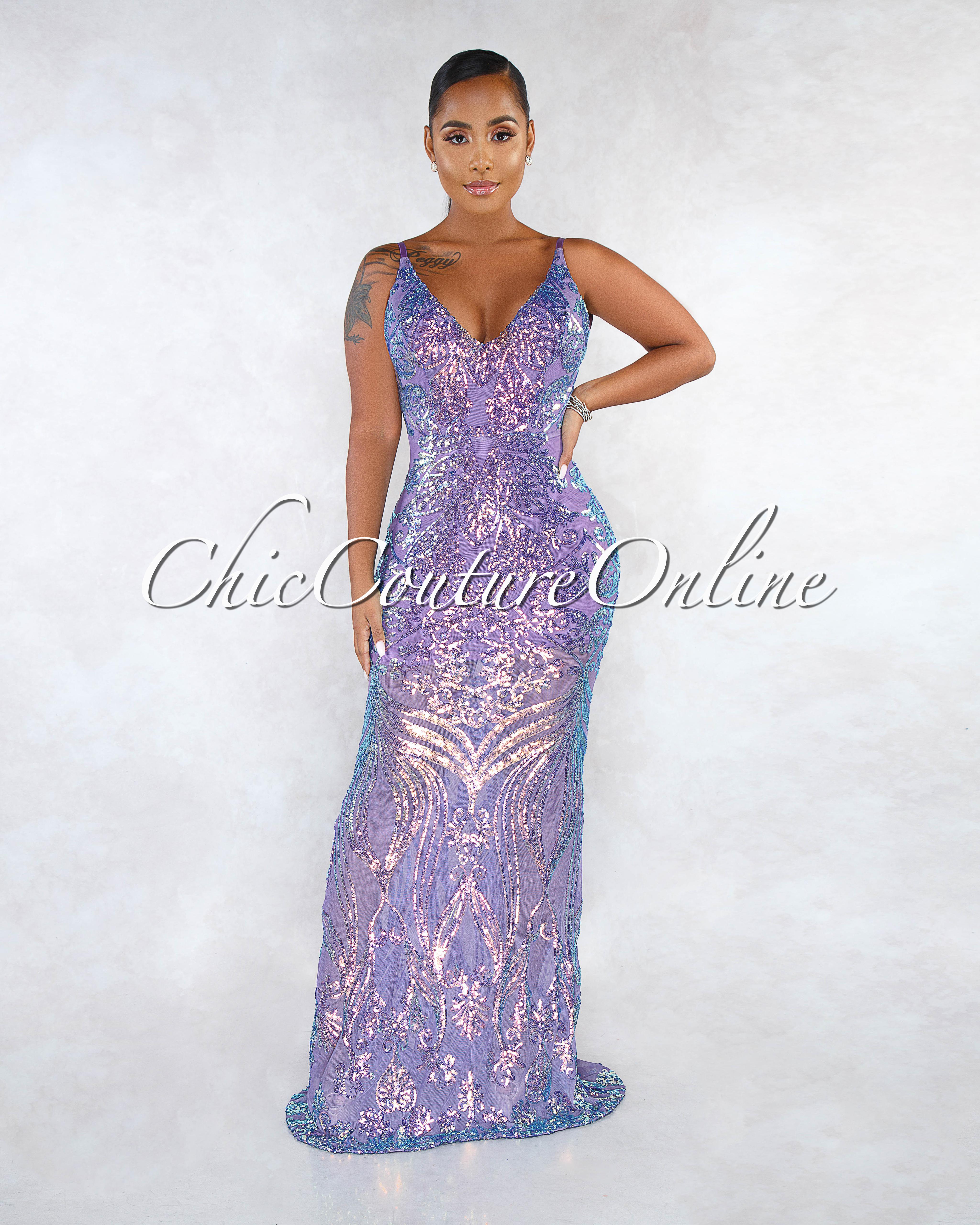 Melida Purple Iridescent Sequins Mesh Maxi Gown