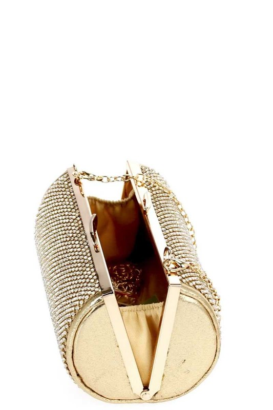 Tyana Gold Tube Shaped Pavé Rhinestones Clutch Bag
