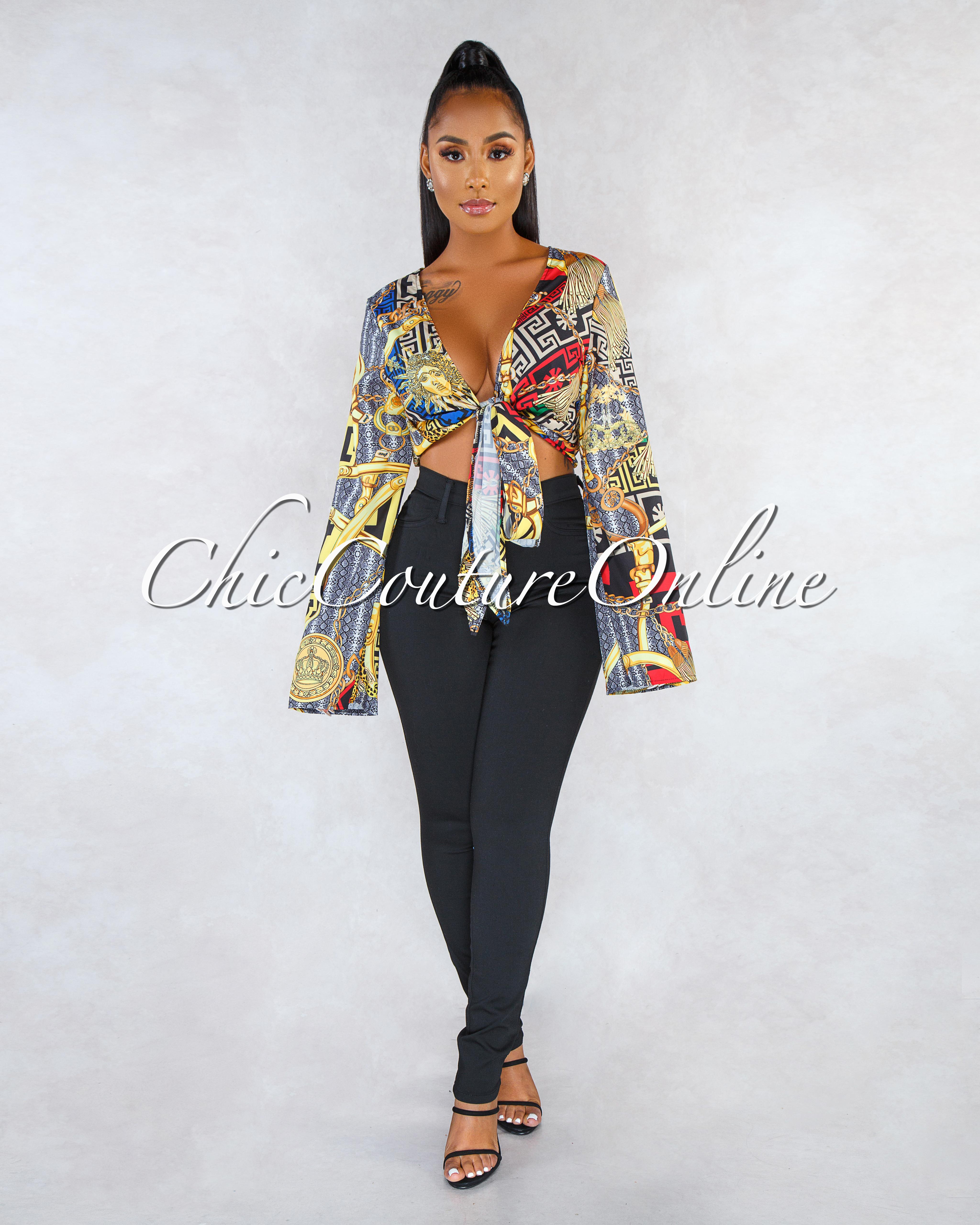 Felipa Black Multi-Color Print Front Tie Blouse