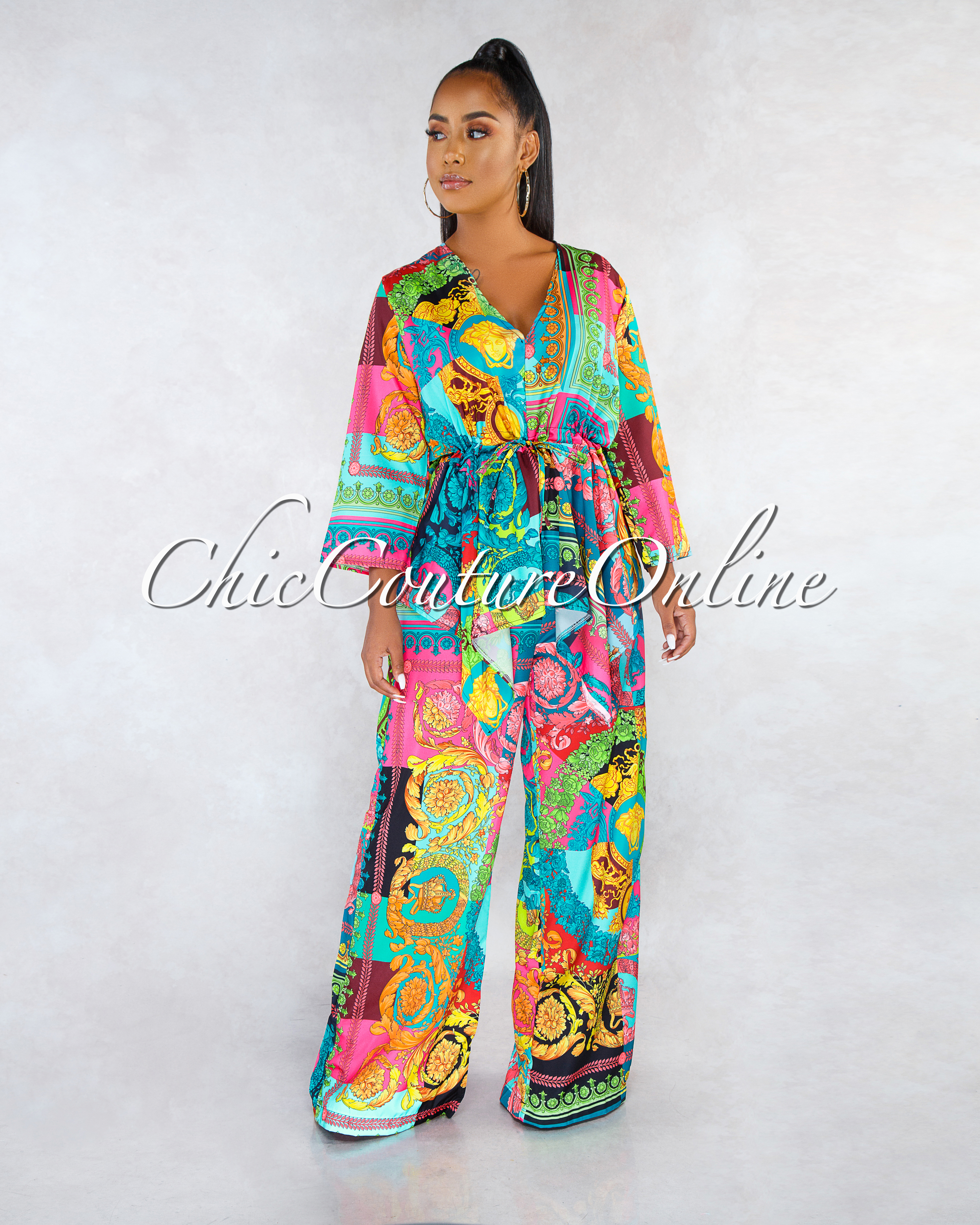 Sandsted Multi-Color Print Waist Tie Kimono Top