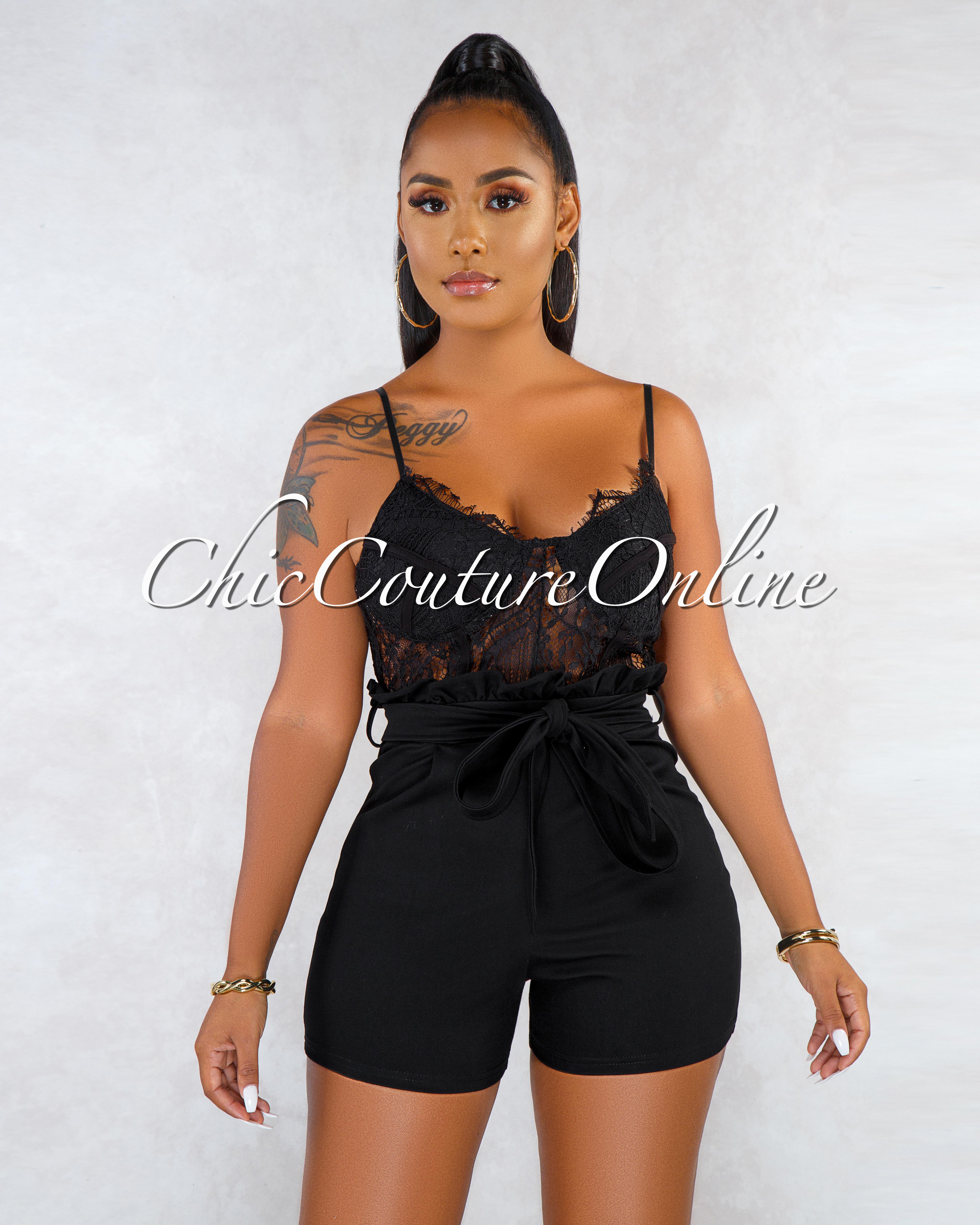 Malika Black Lace Sheer Top Romper