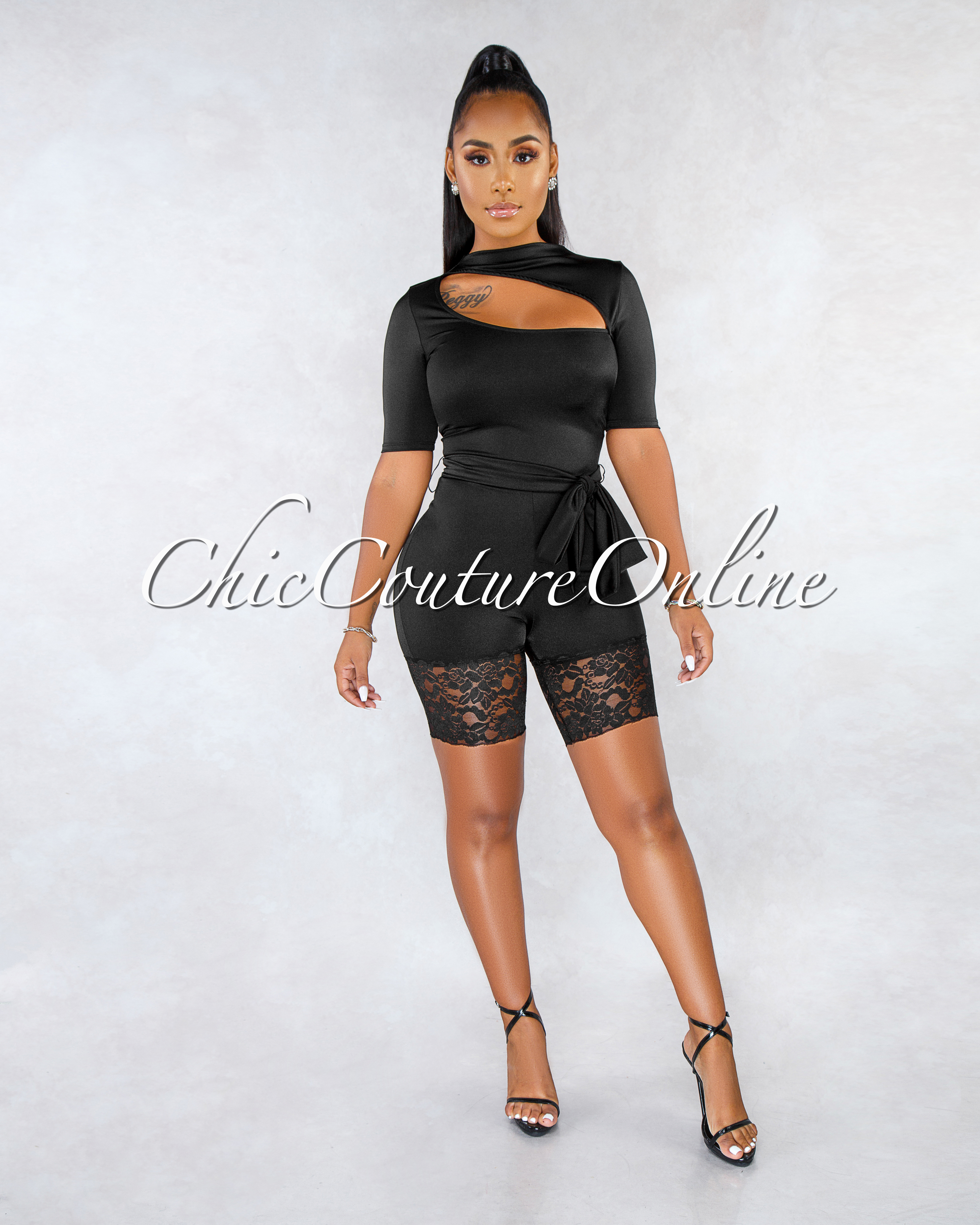 Darrin Black Top Cut-Out Lace Hem Silky Romper