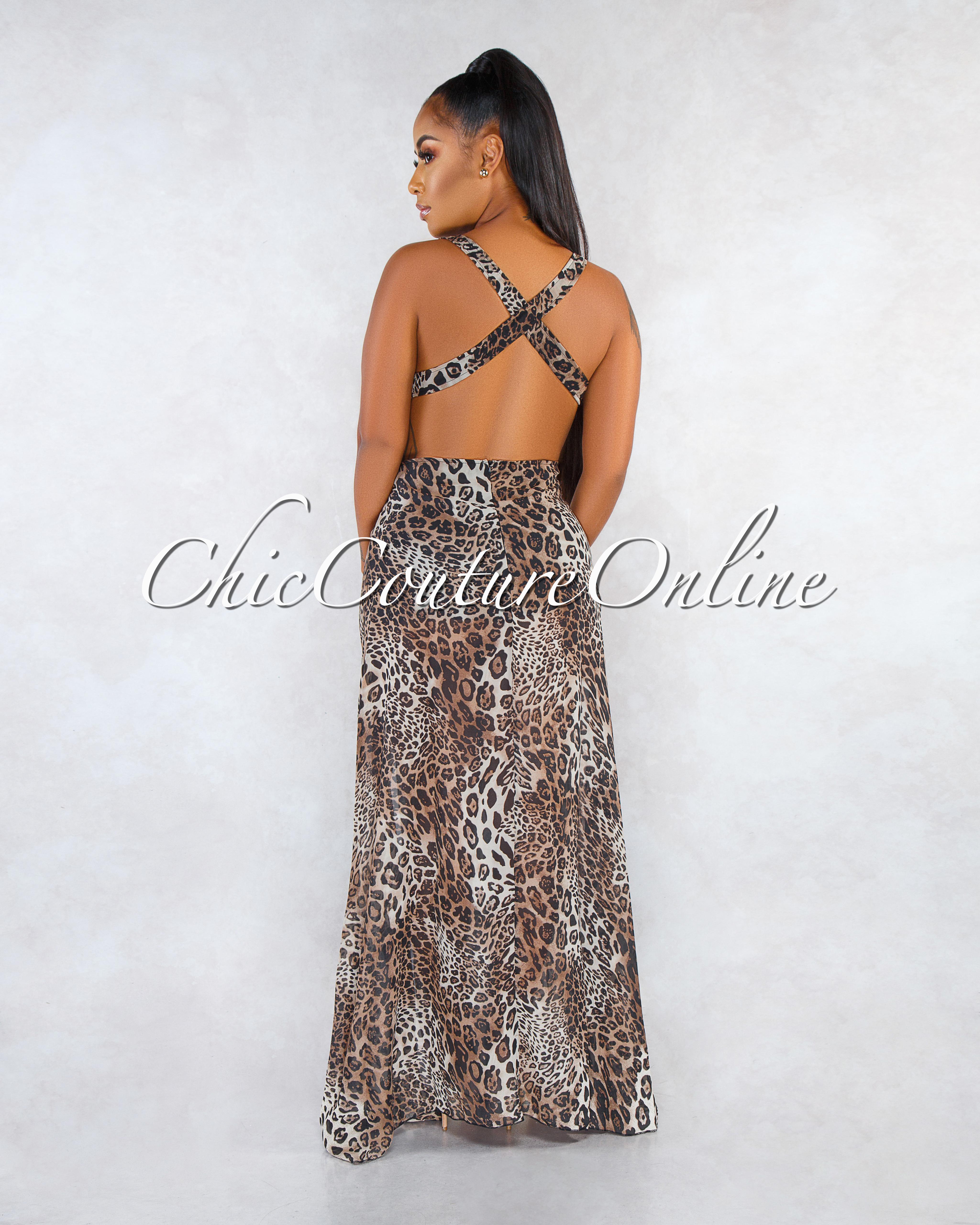 Prisca Leopard Print Royal V-Neck Cut-Out Side Slit Maxi Dress