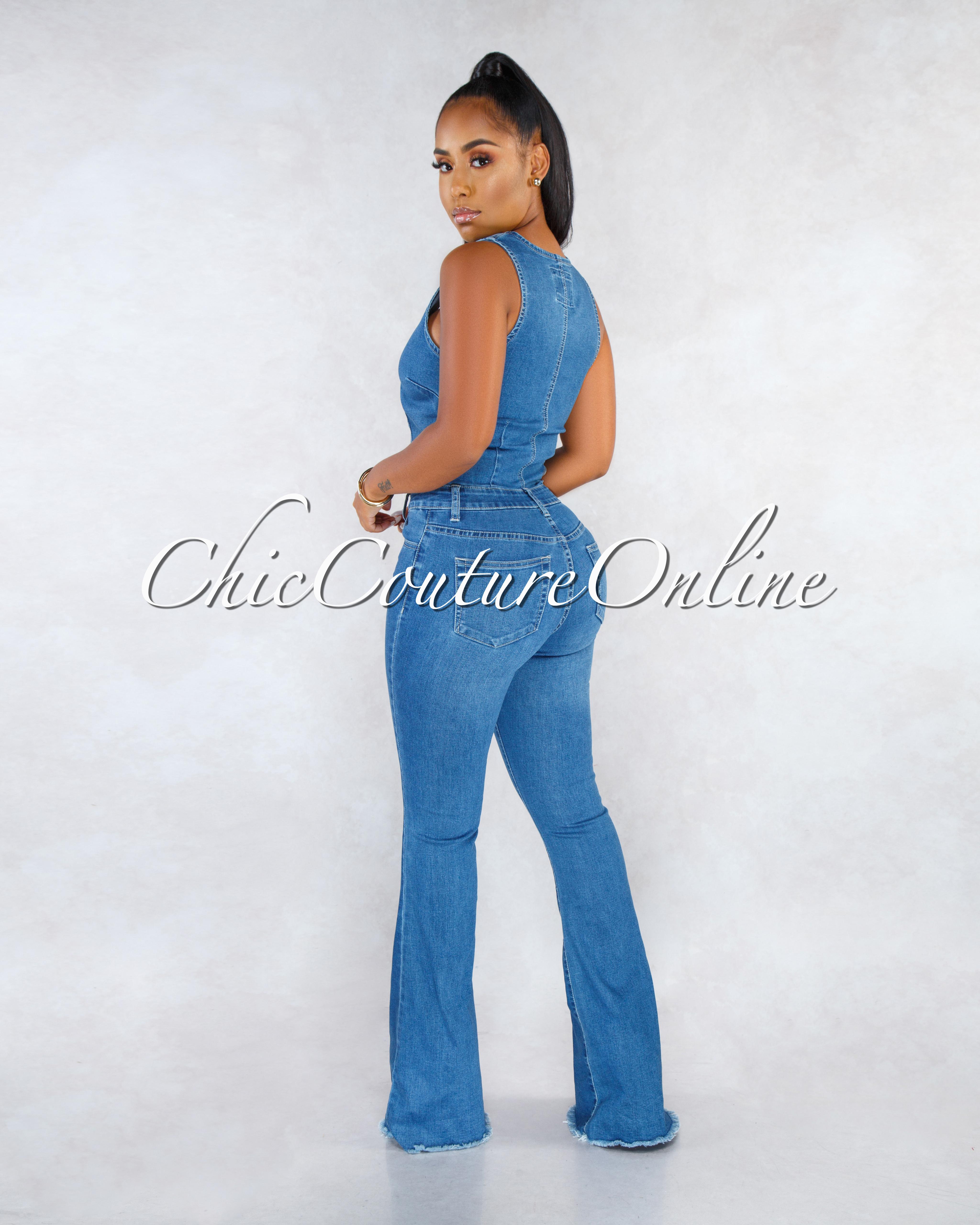 Laibah Blue Denim Front Cut-Out Bell Legs Jumpsuit
