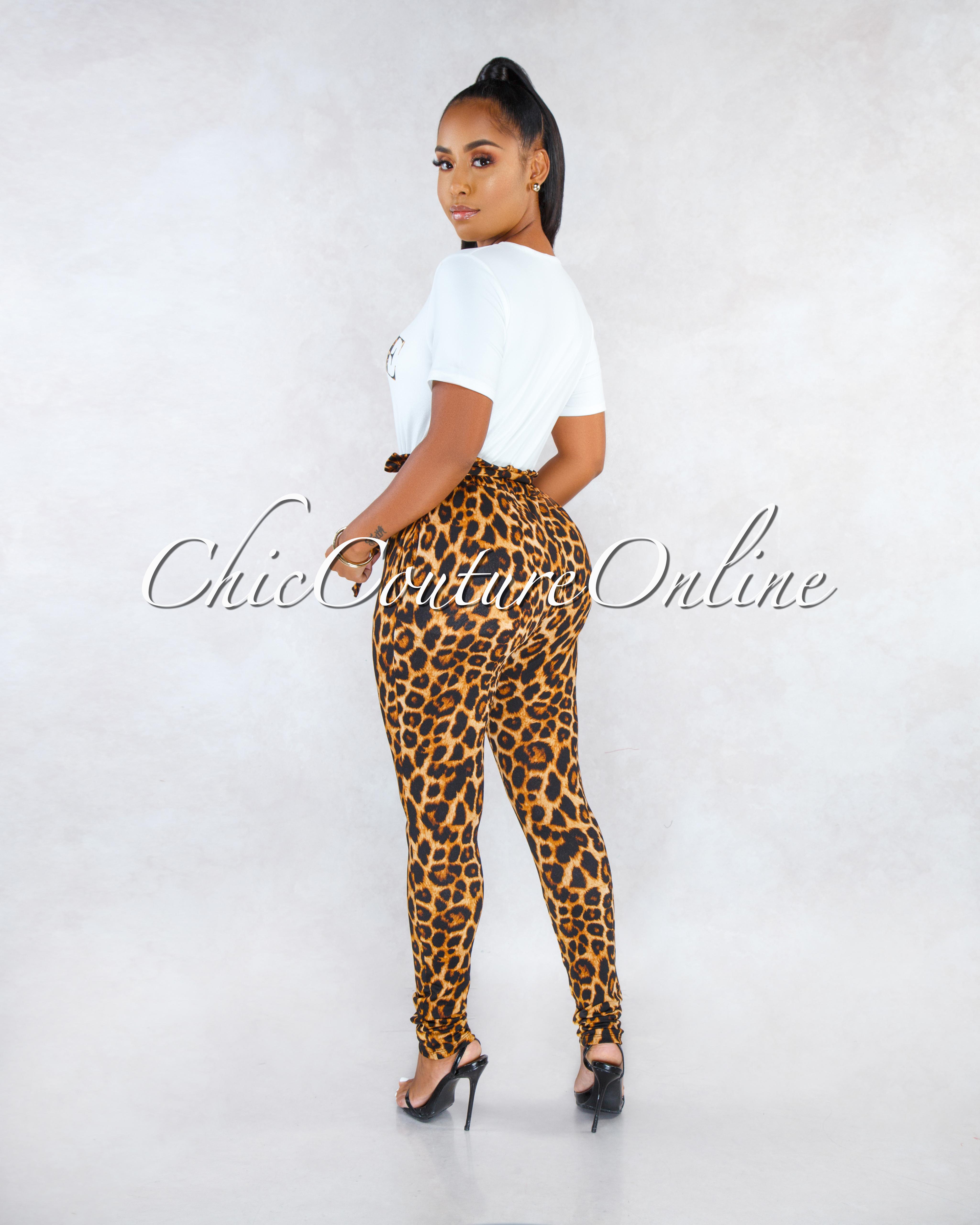 Vogue Off-White T-Shirt Leopard Print Pants CURVACEOUS Set