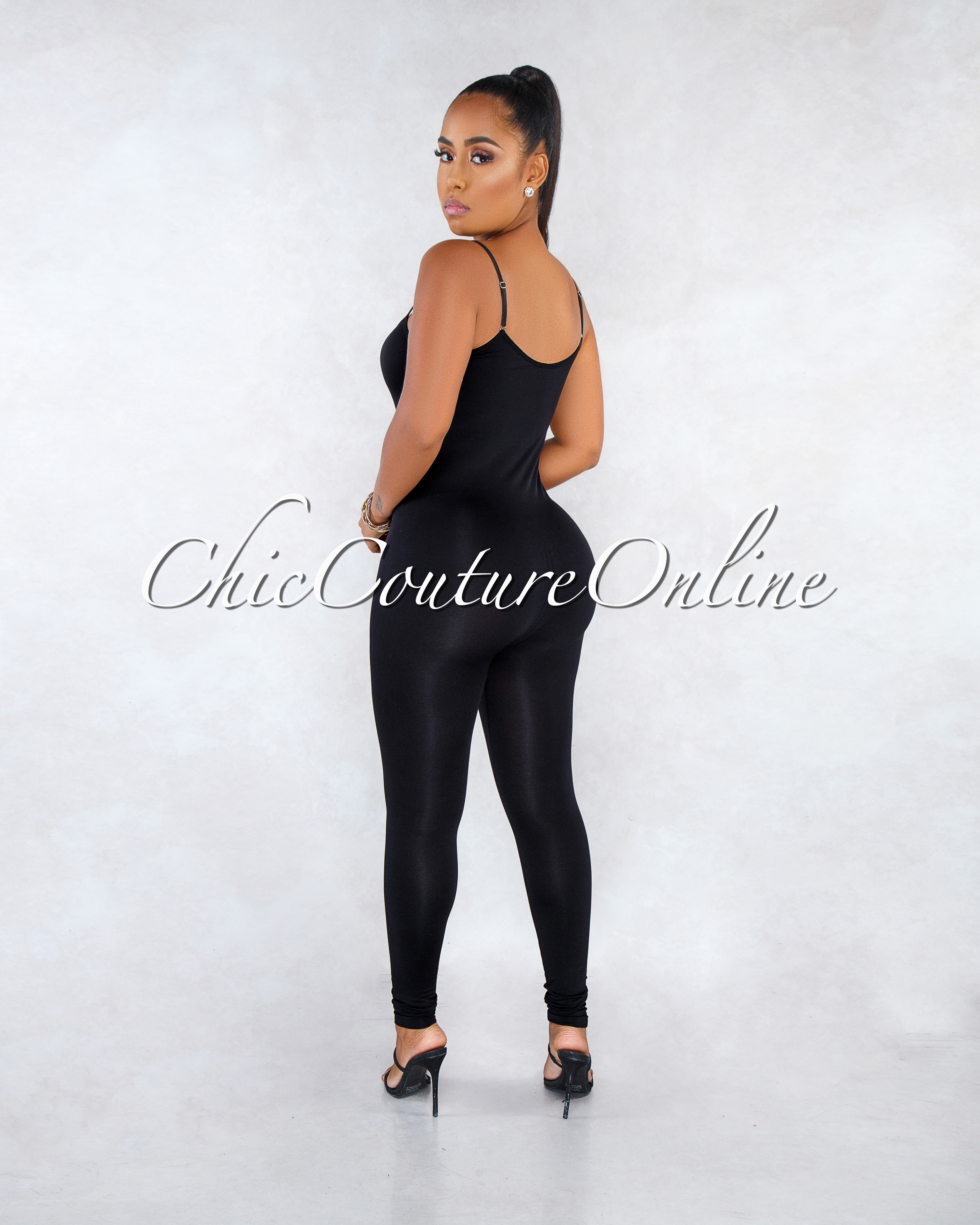Dynamic Black Seamless BodyCon Jumpsuit