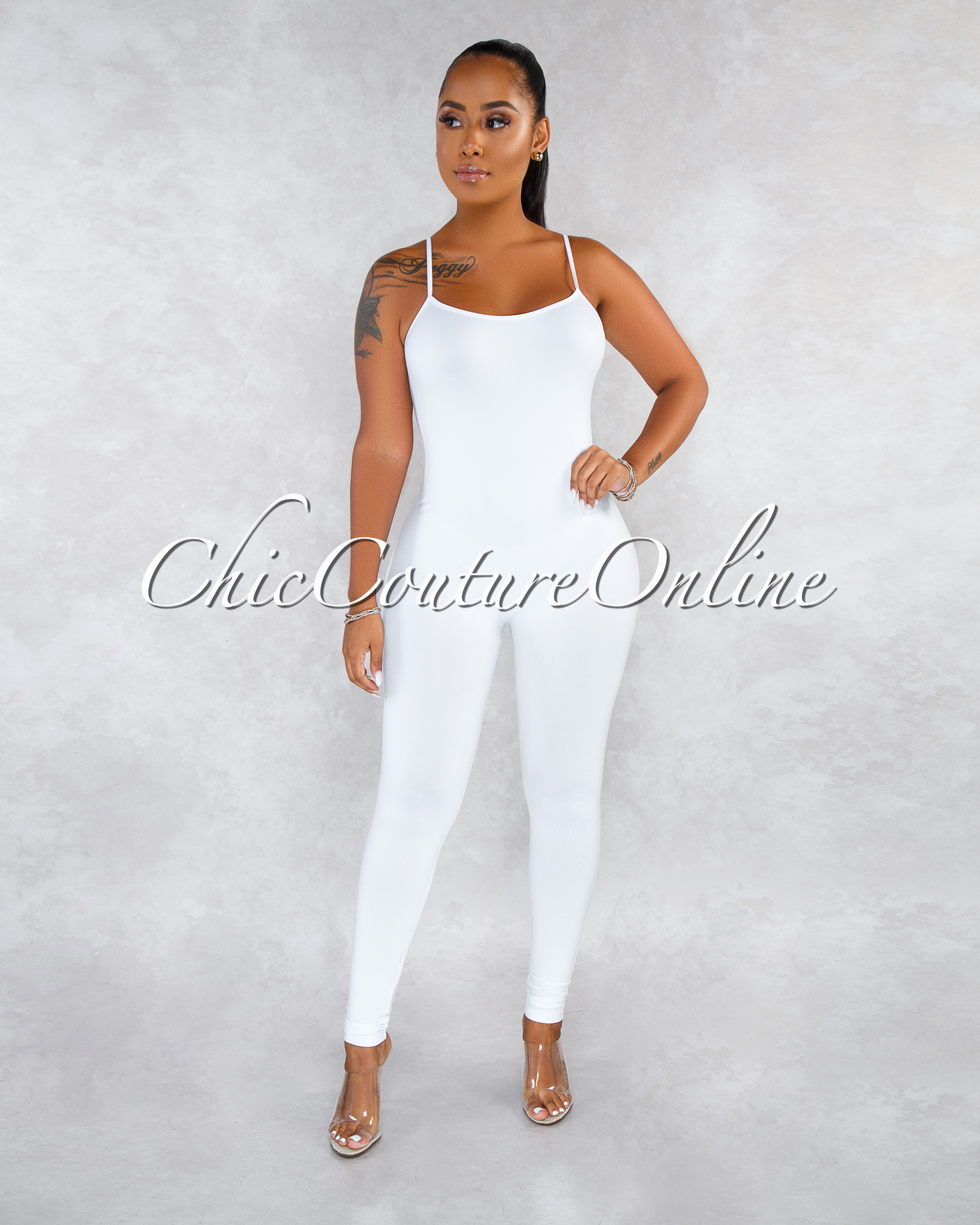 Dynamic White Seamless Body-Con Jumpsuit
