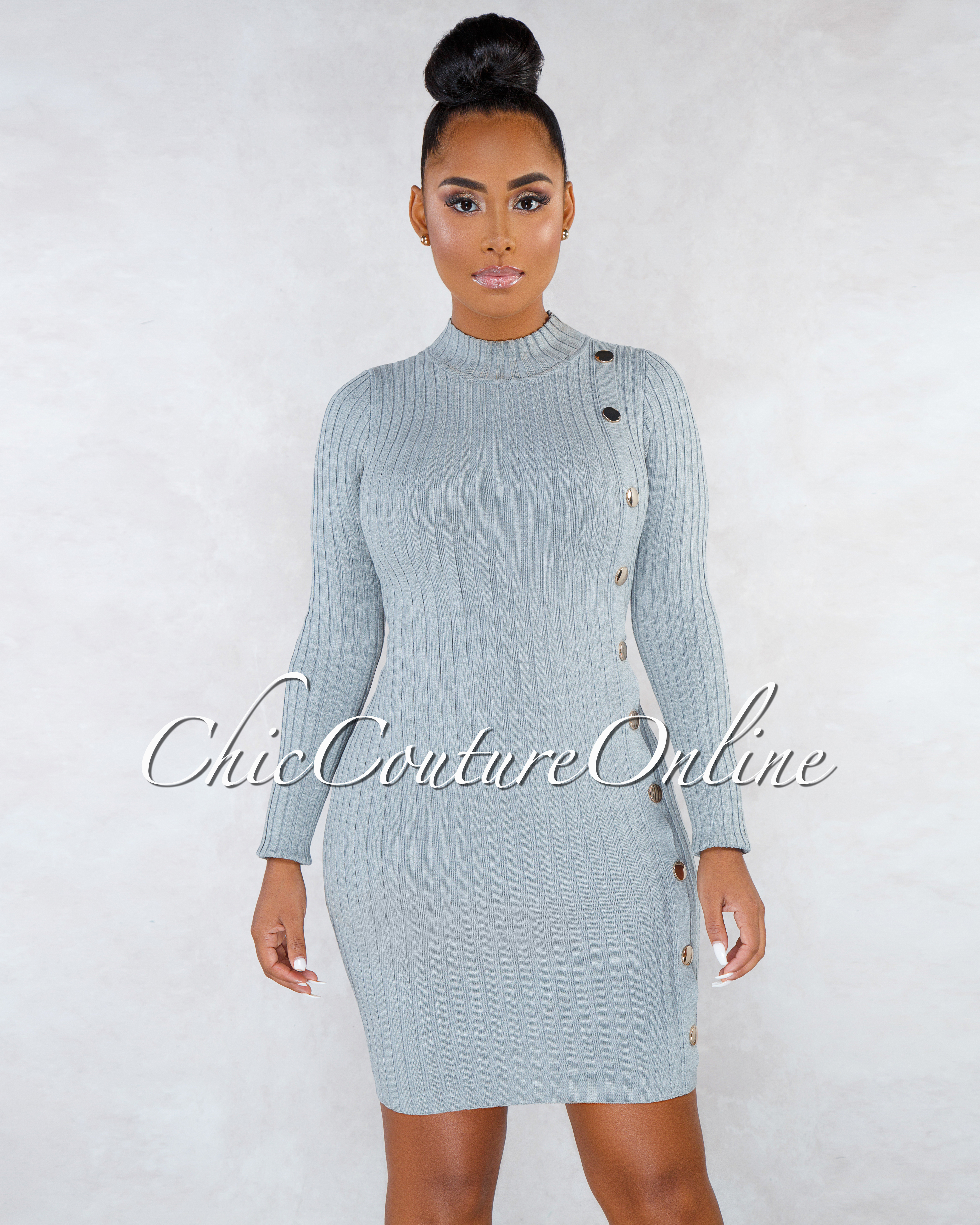 Valerian Gray Gold Snap Buttons Ribbed Dress