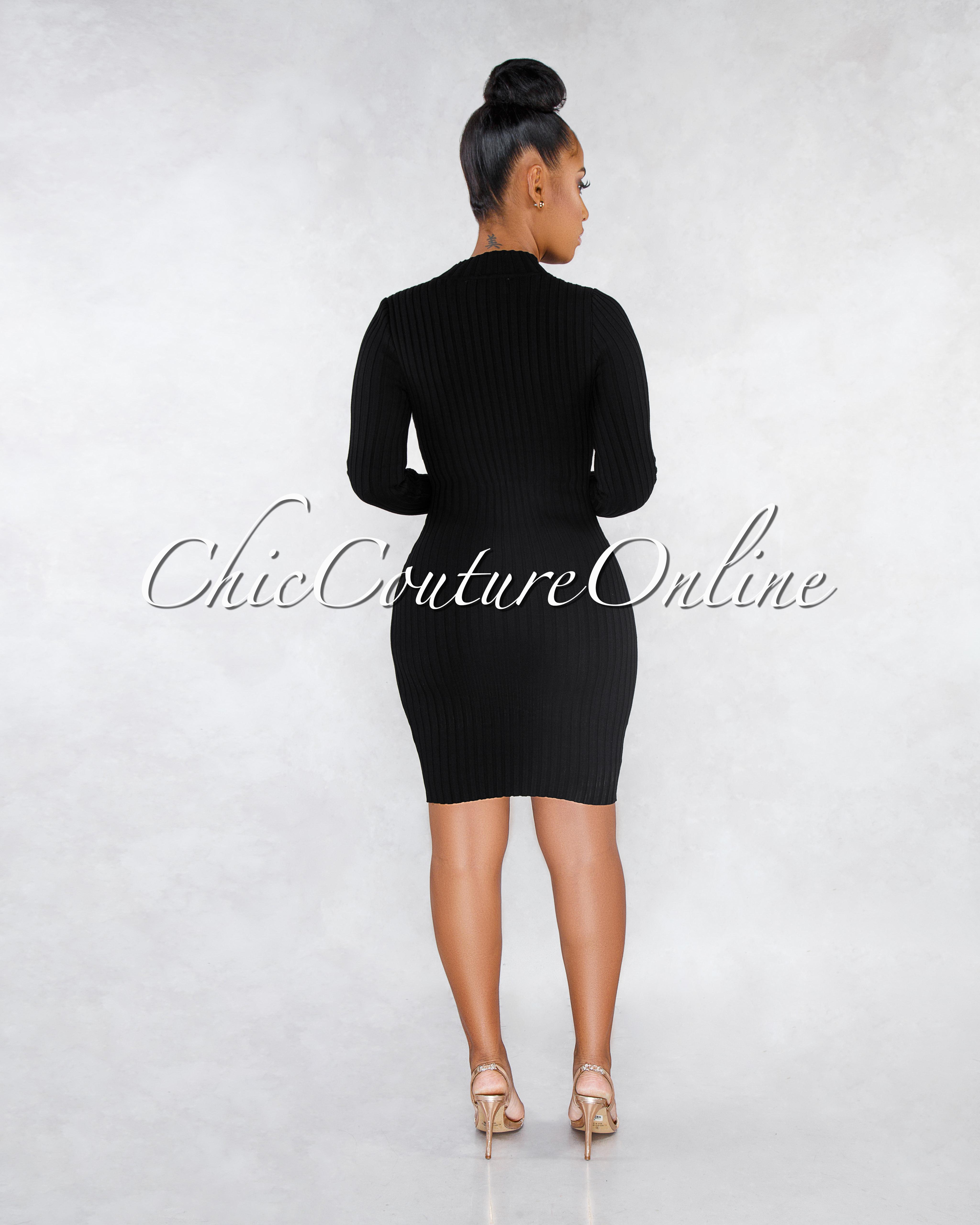 Valerian Black Gold Snap Buttons Ribbed Dress
