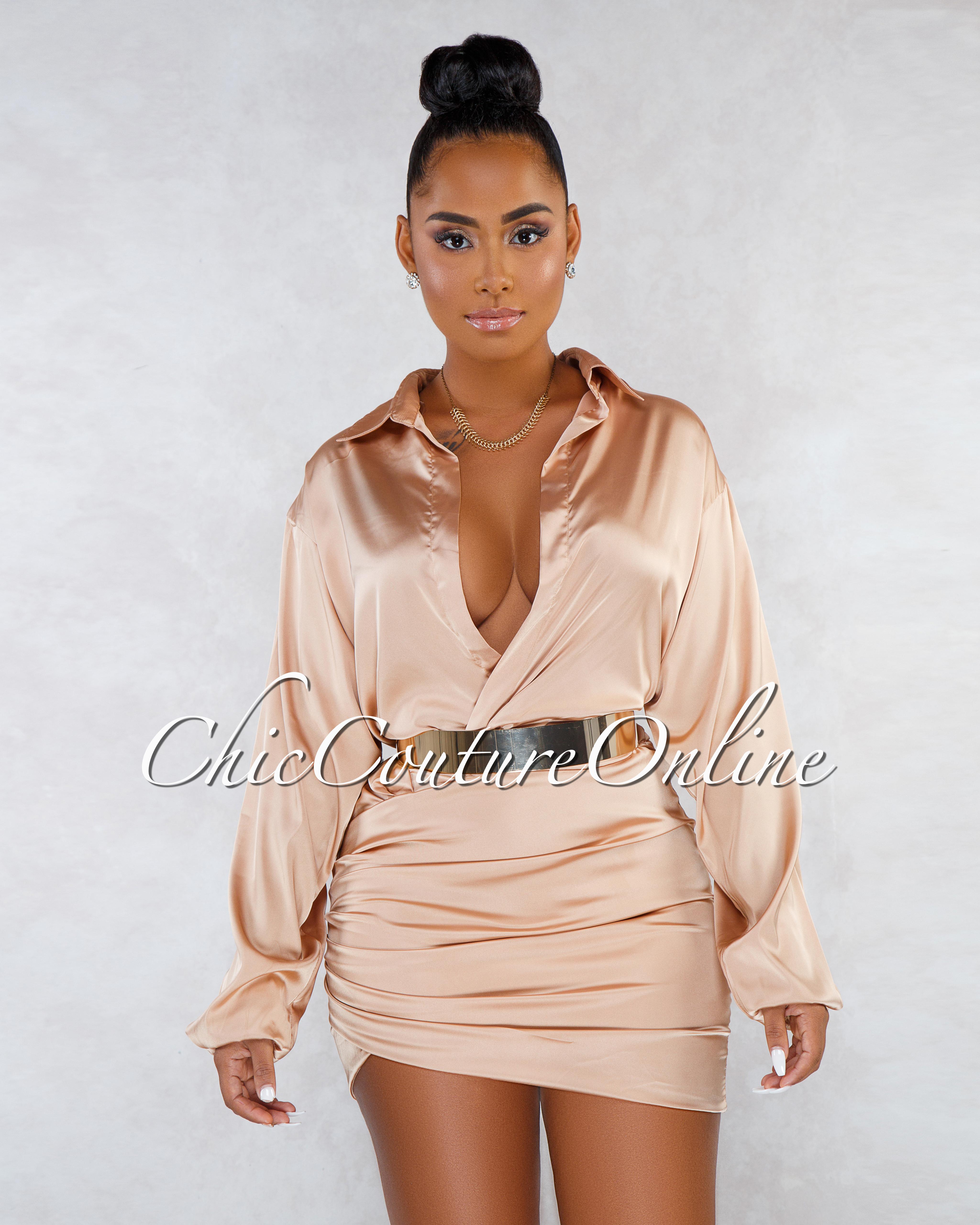 Naida Gold Ruched Deep V Neck Silky Mini Dress