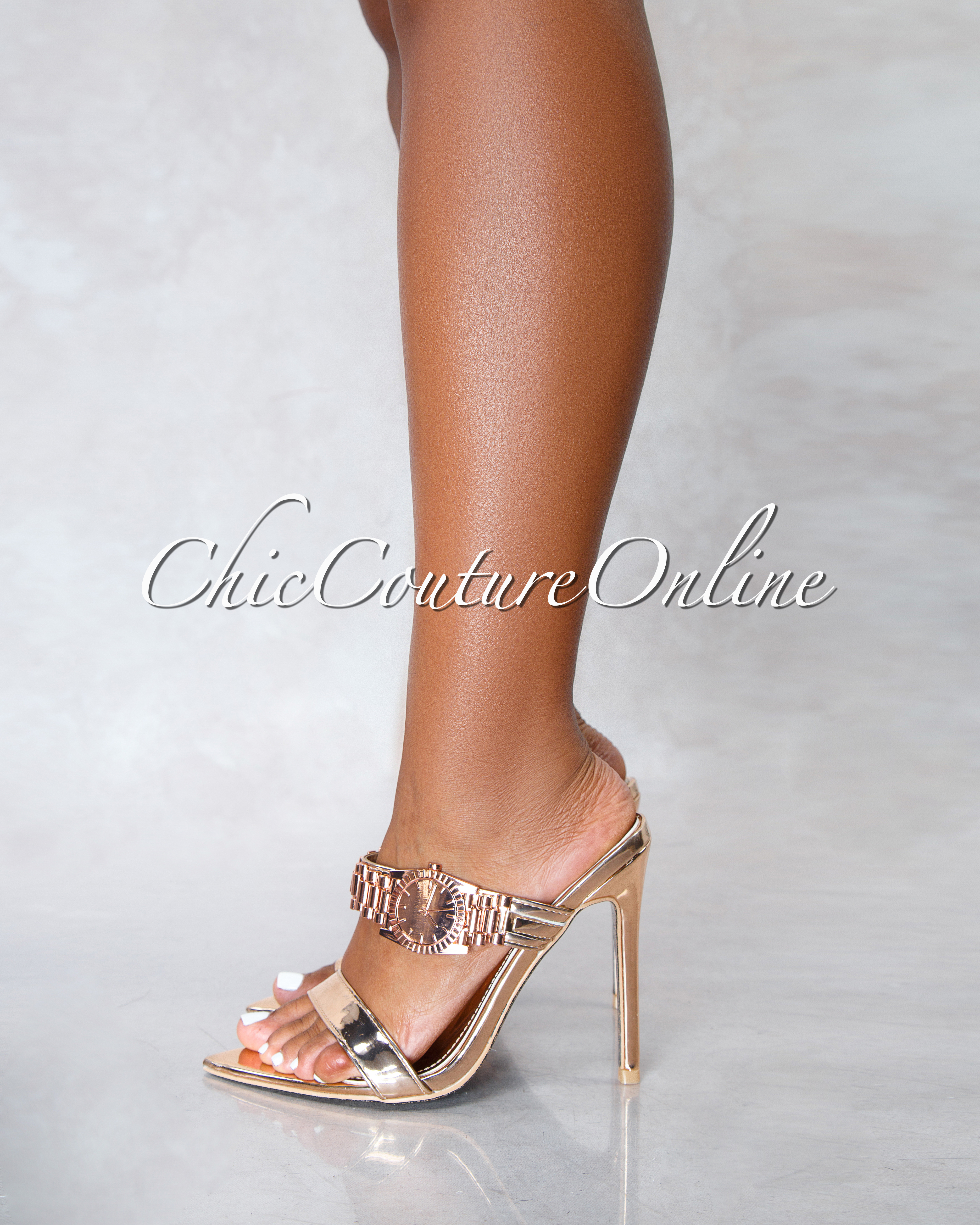 Robbin Watch Rose Gold Pointed Toe Heels