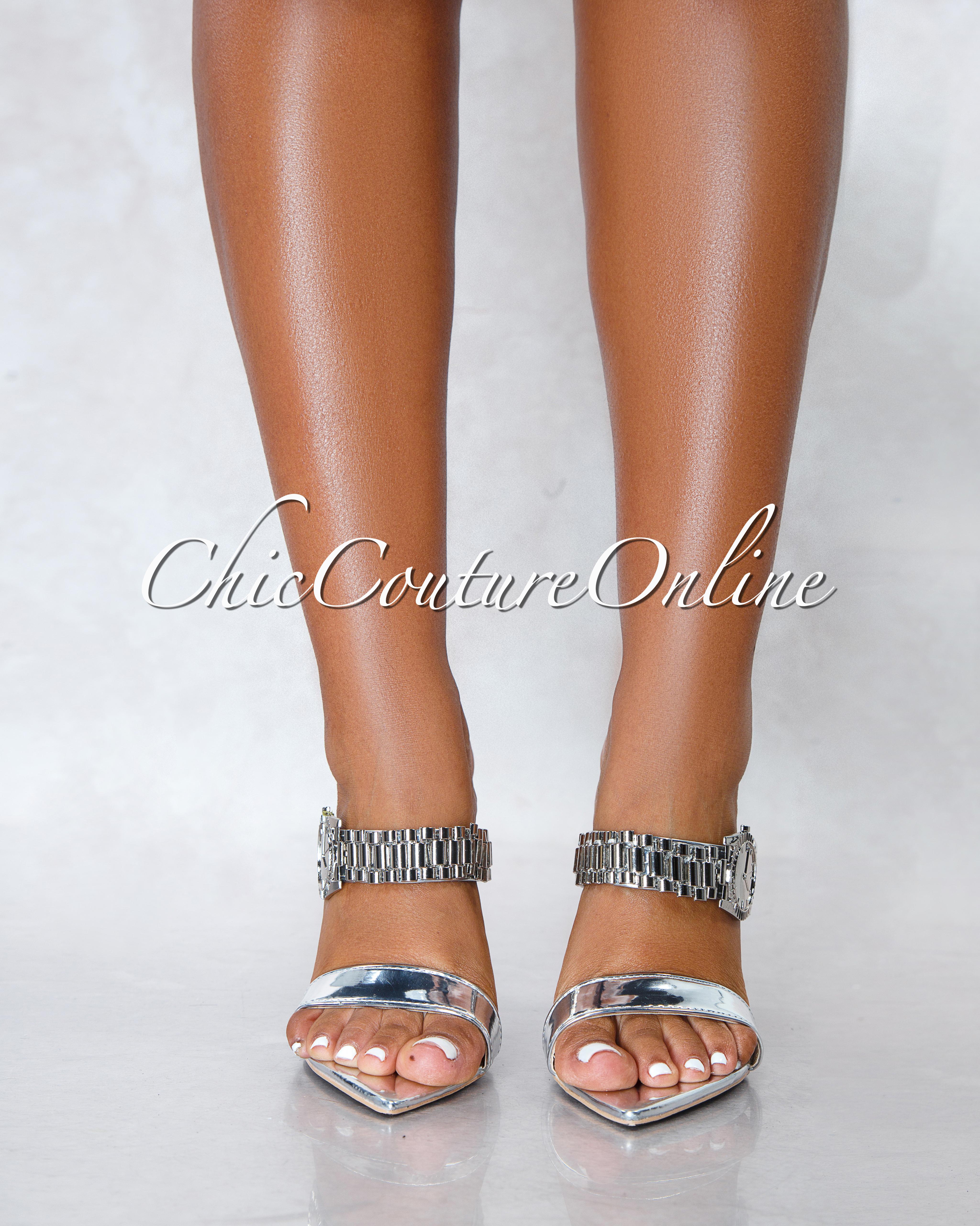Robbin Watch Silver Pointed Toe Heels