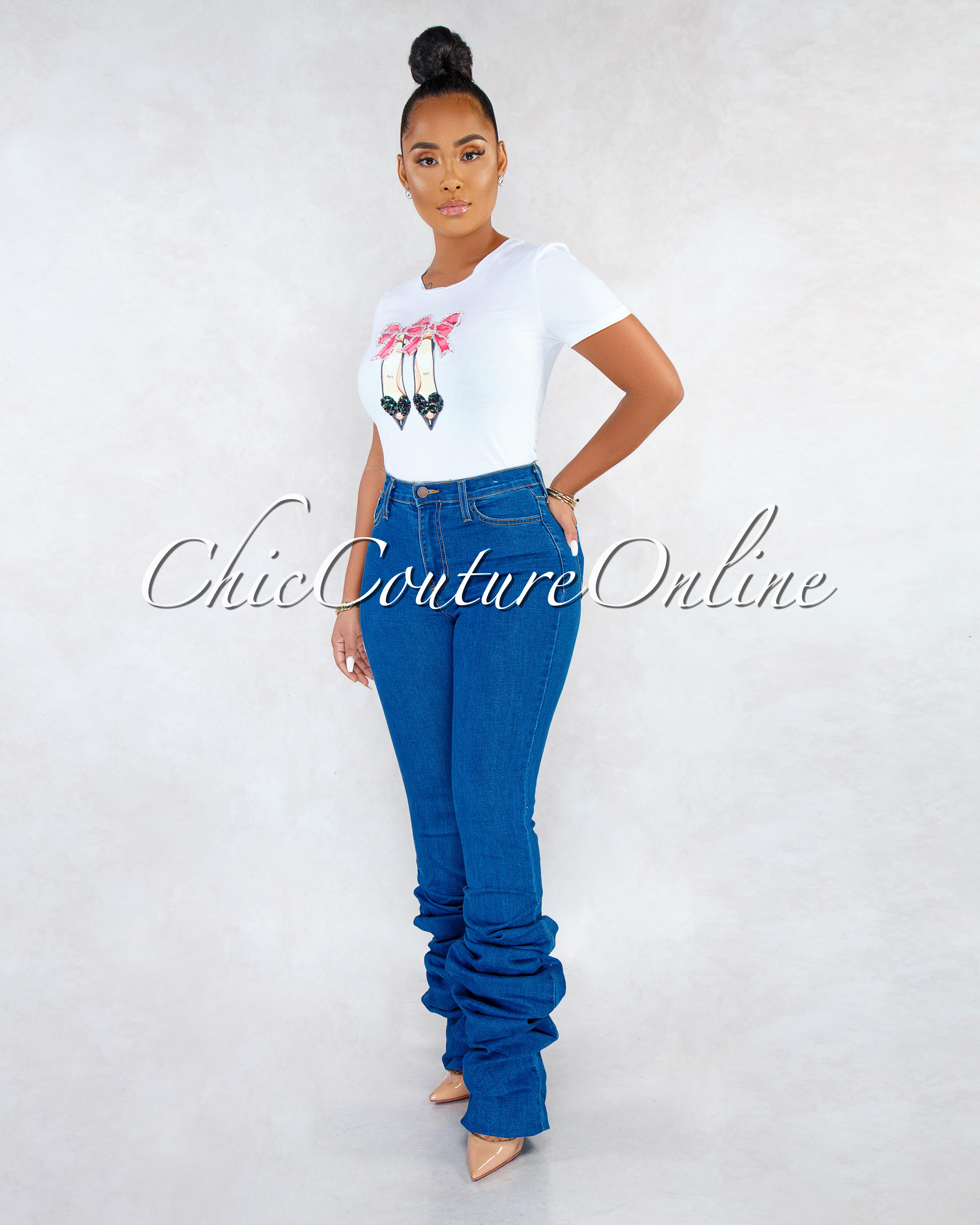 Lullie Blue Denim Ruched Bottom CURVACEOUS Jeans