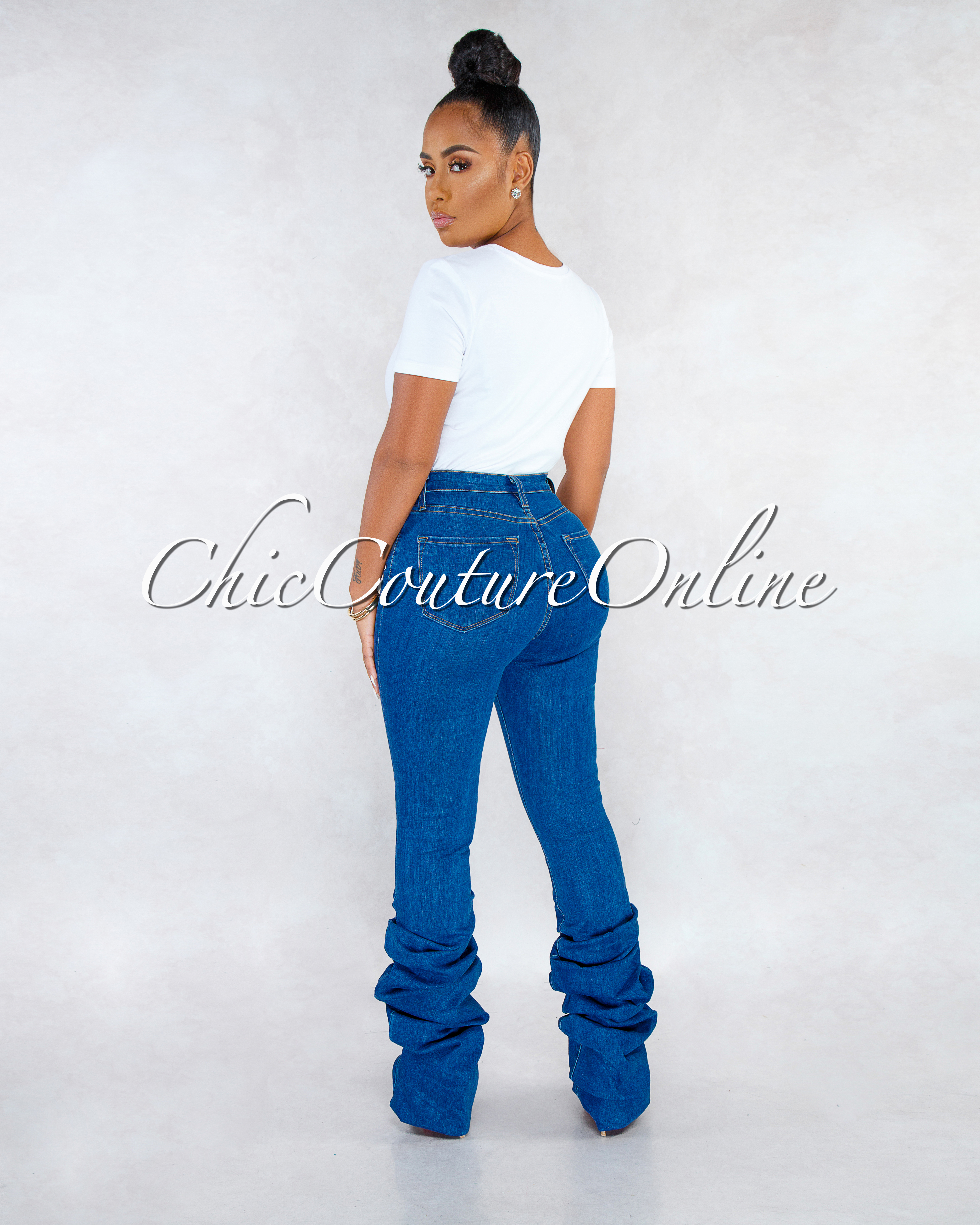 Lullie Blue Denim Ruched Bottom CURVACEOUS Jeans