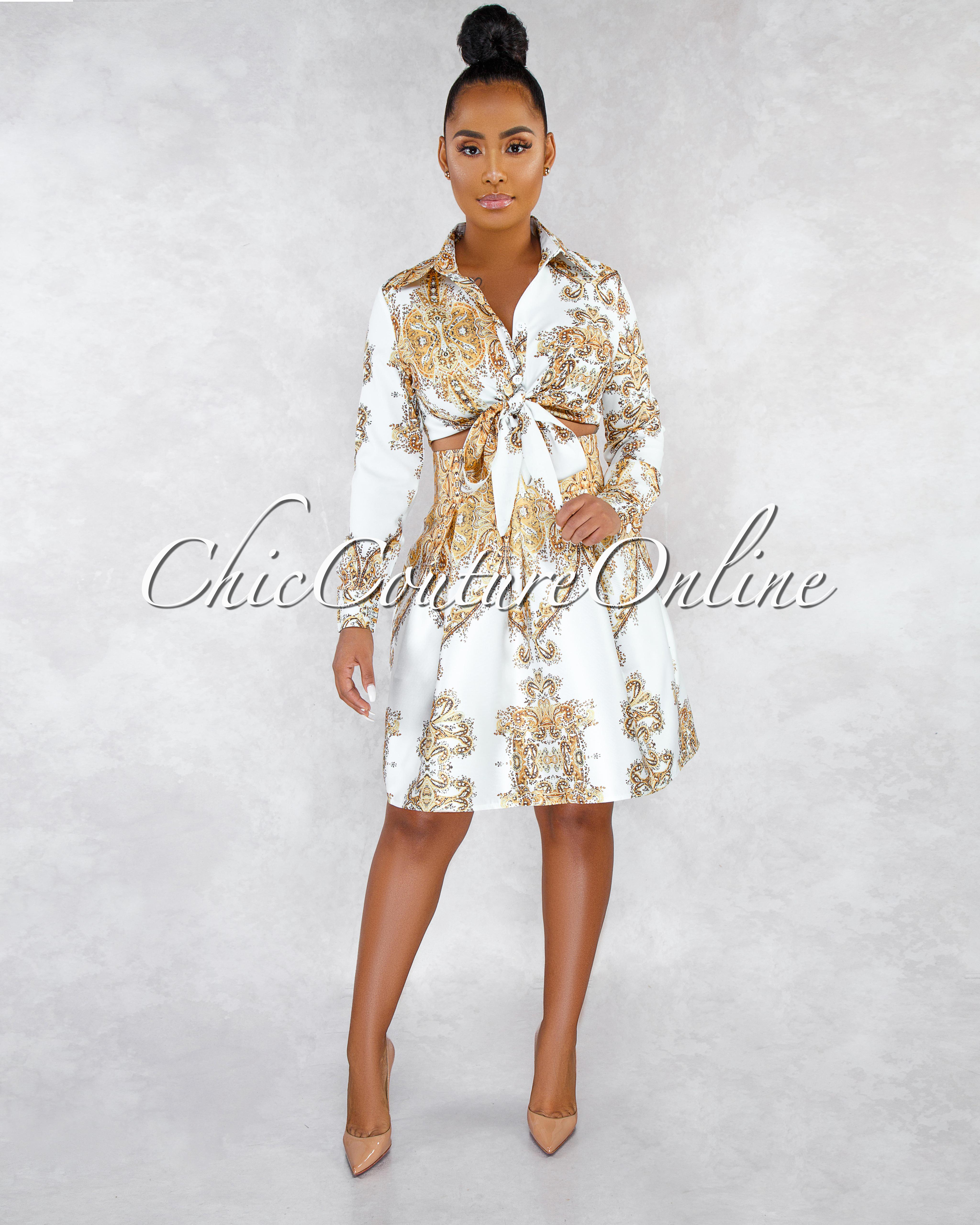 Vixen Off-White Gold Paisley Print Skater Skirt Two Piece Set