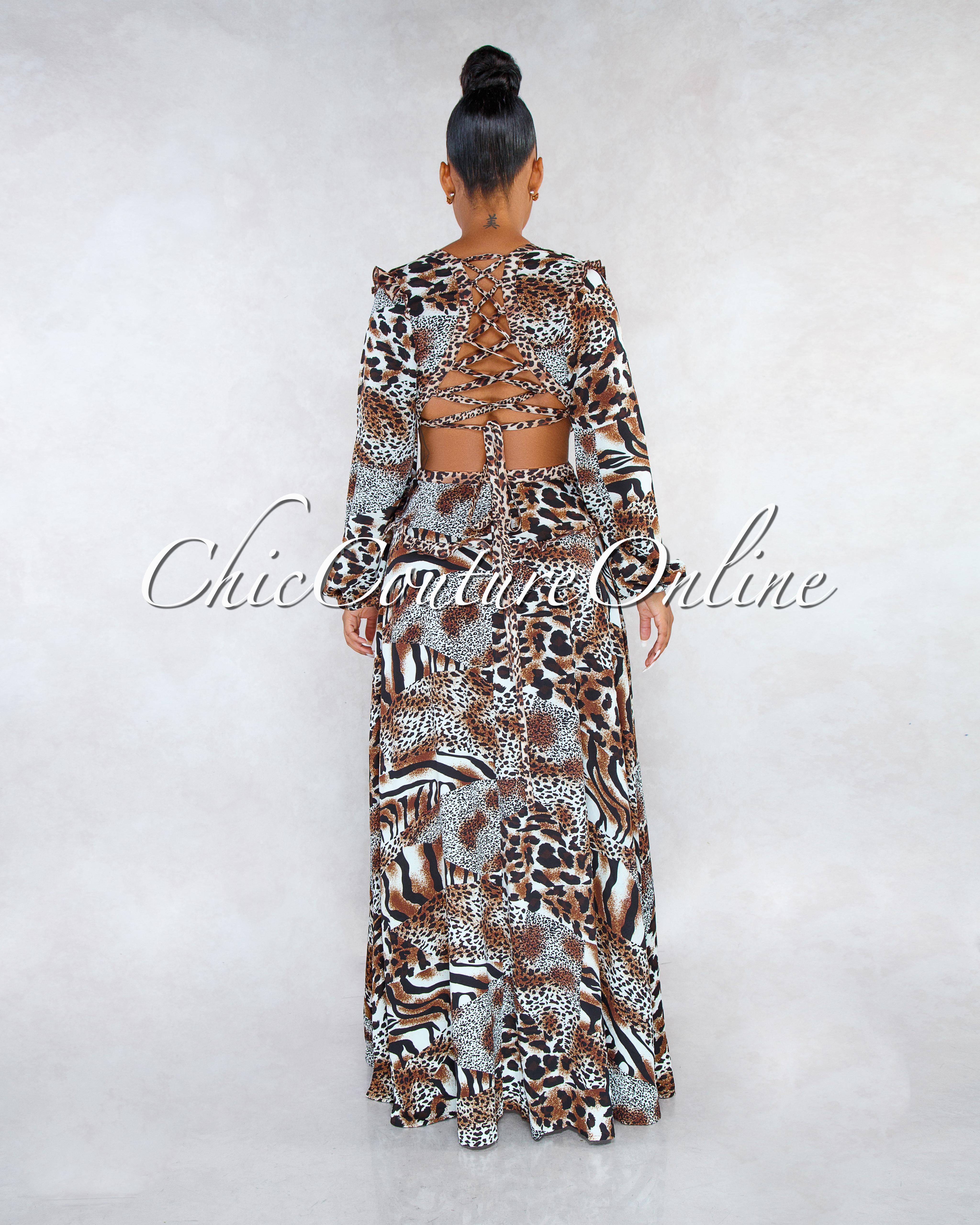 Goldie Leopard Print V-Neck Back Lace-Up Maxi Dress