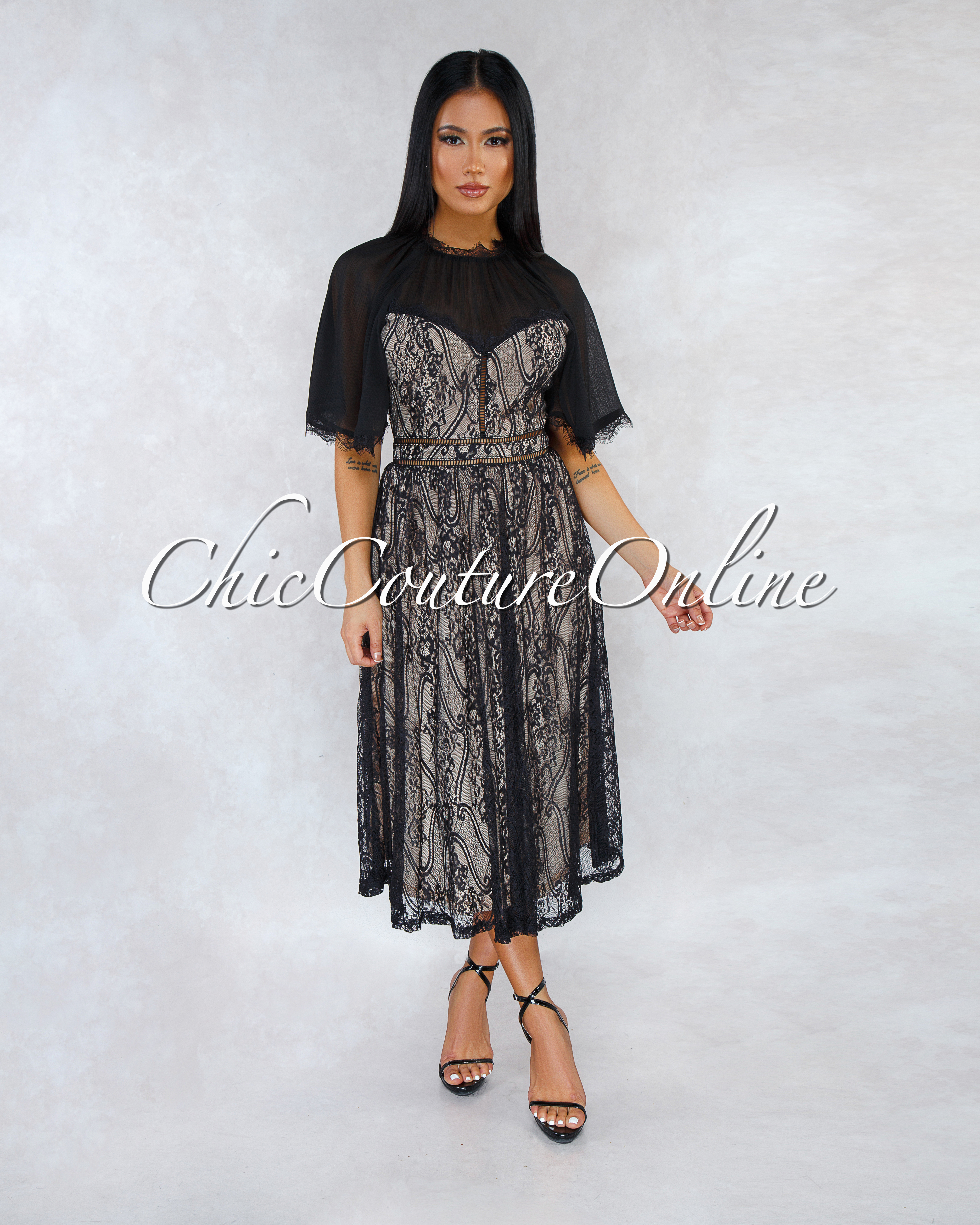 Aurelia Black Nude Illusion Lace Midi Dress