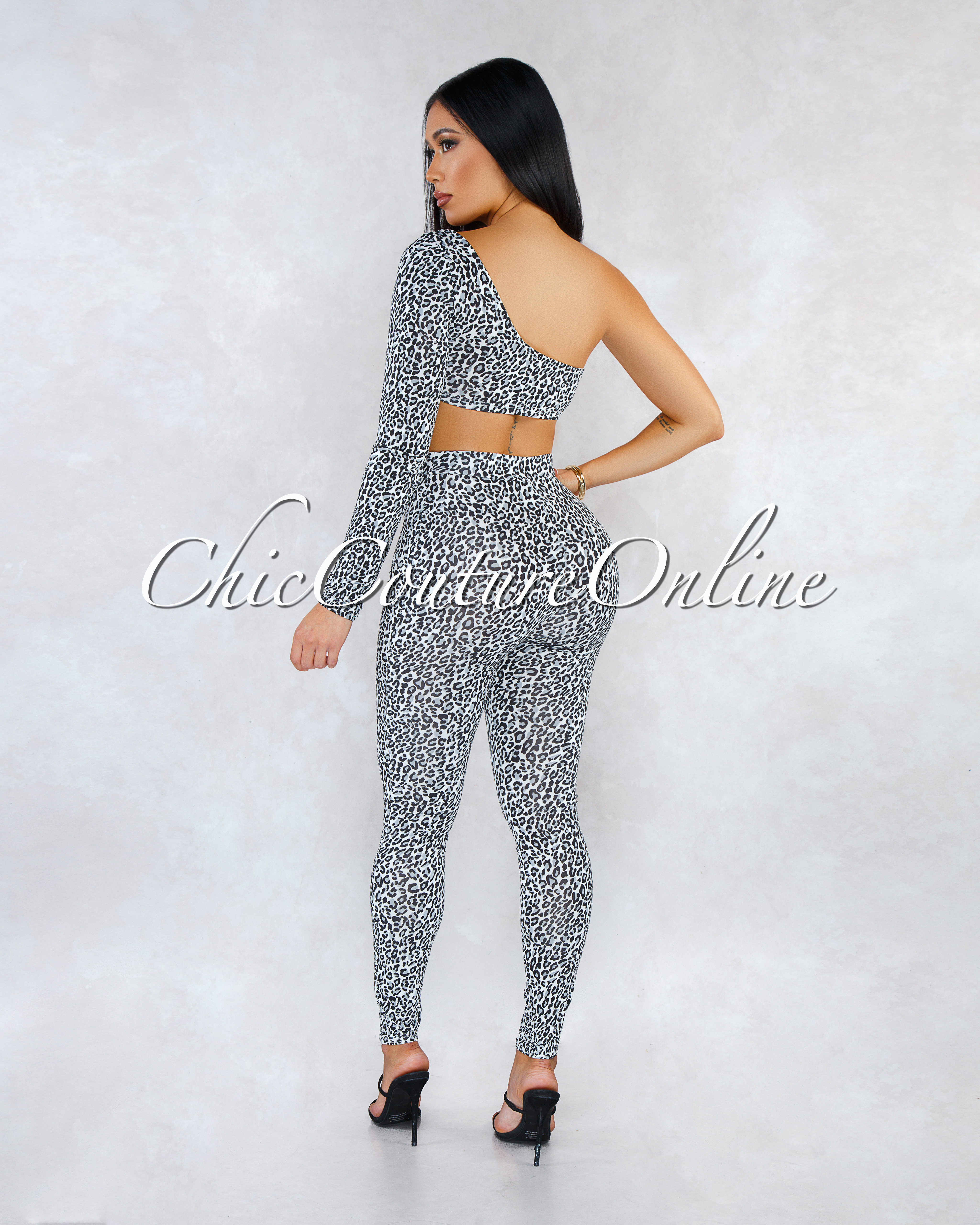 Athens White Gray Leopard Print Two Piece Leggings Set