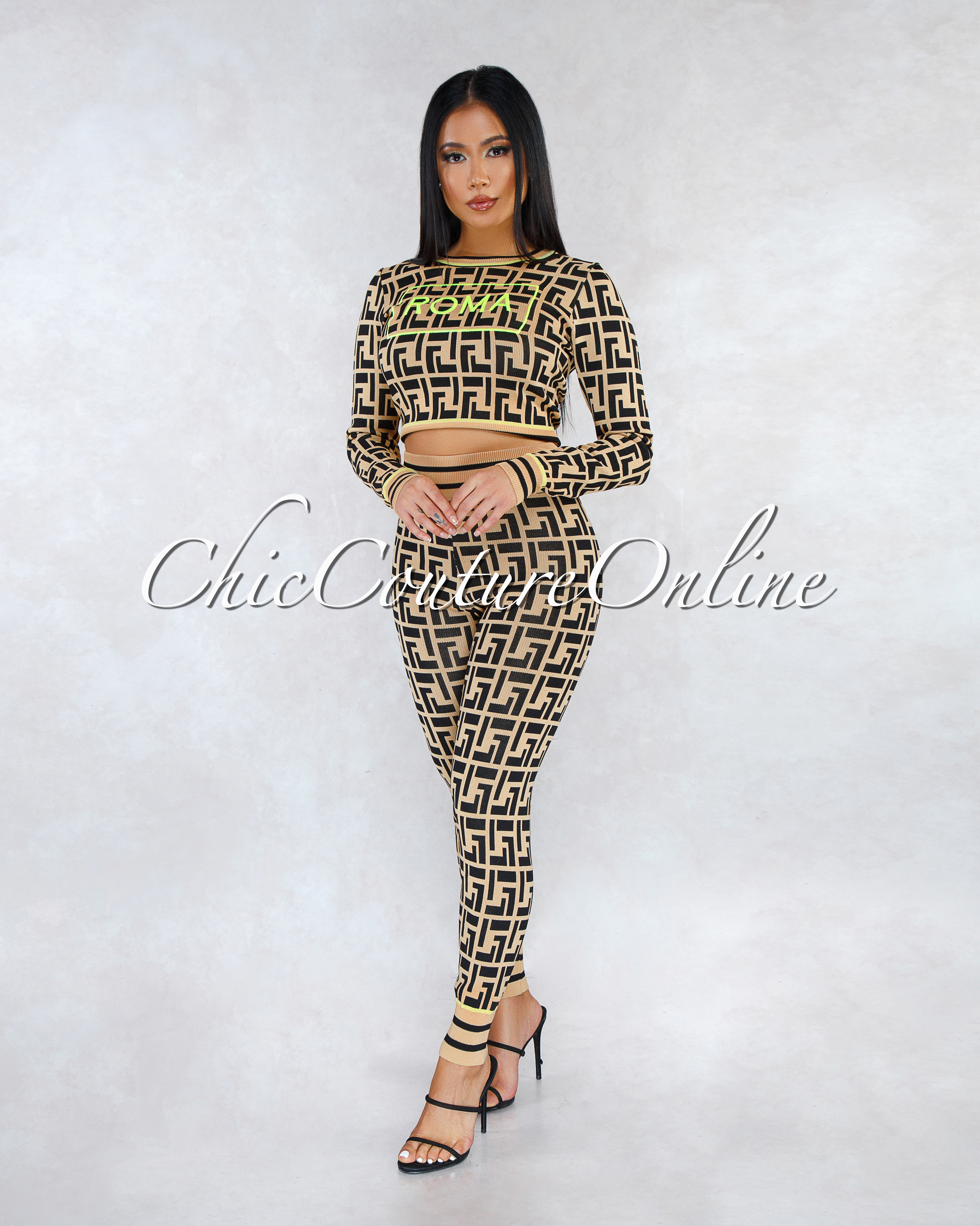 Romana Fret Print Neon Lime Graphic Sweater Two Piece Set