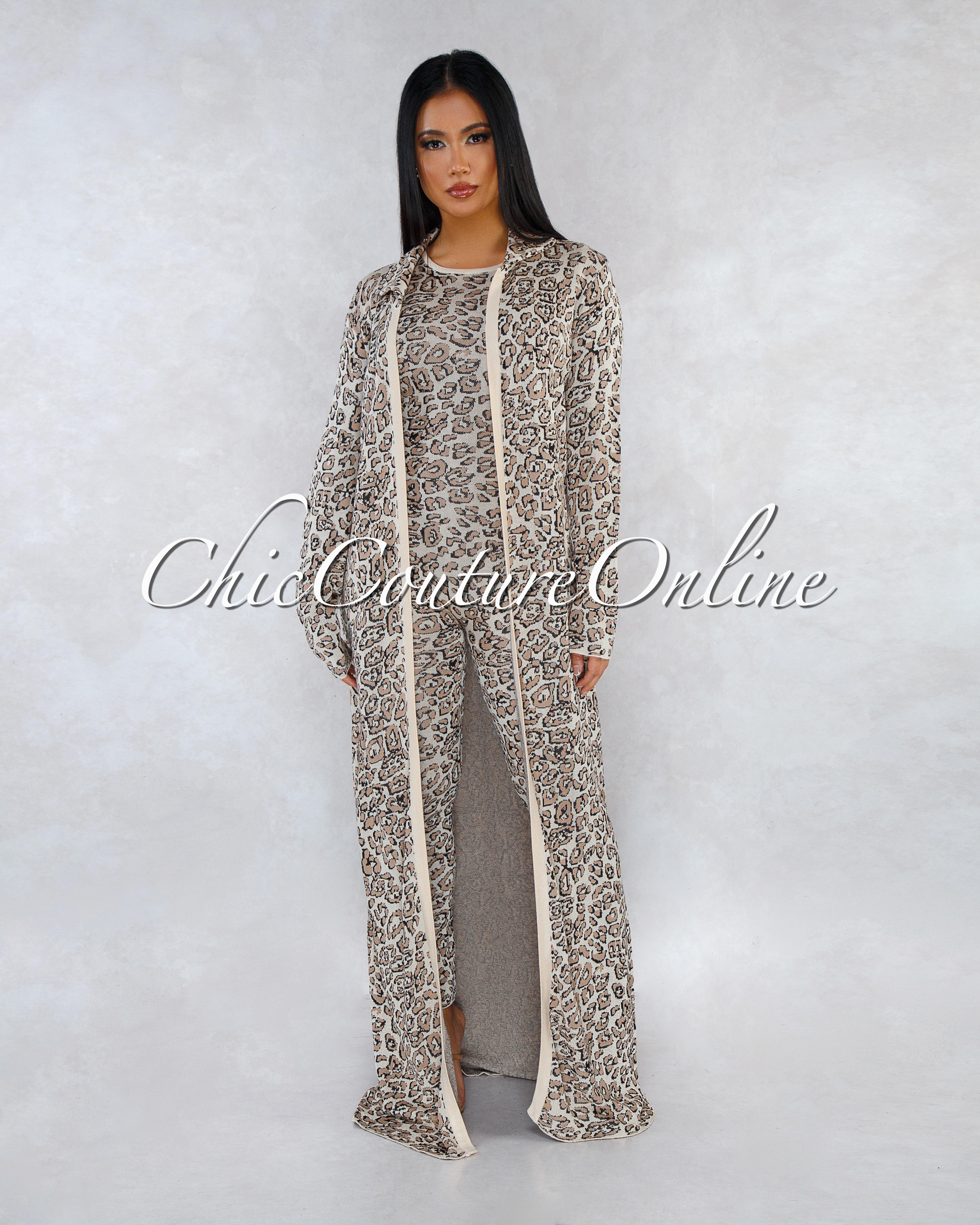 Olympya Nude Leopard Print Knit Long Sleeves Jumpsuit