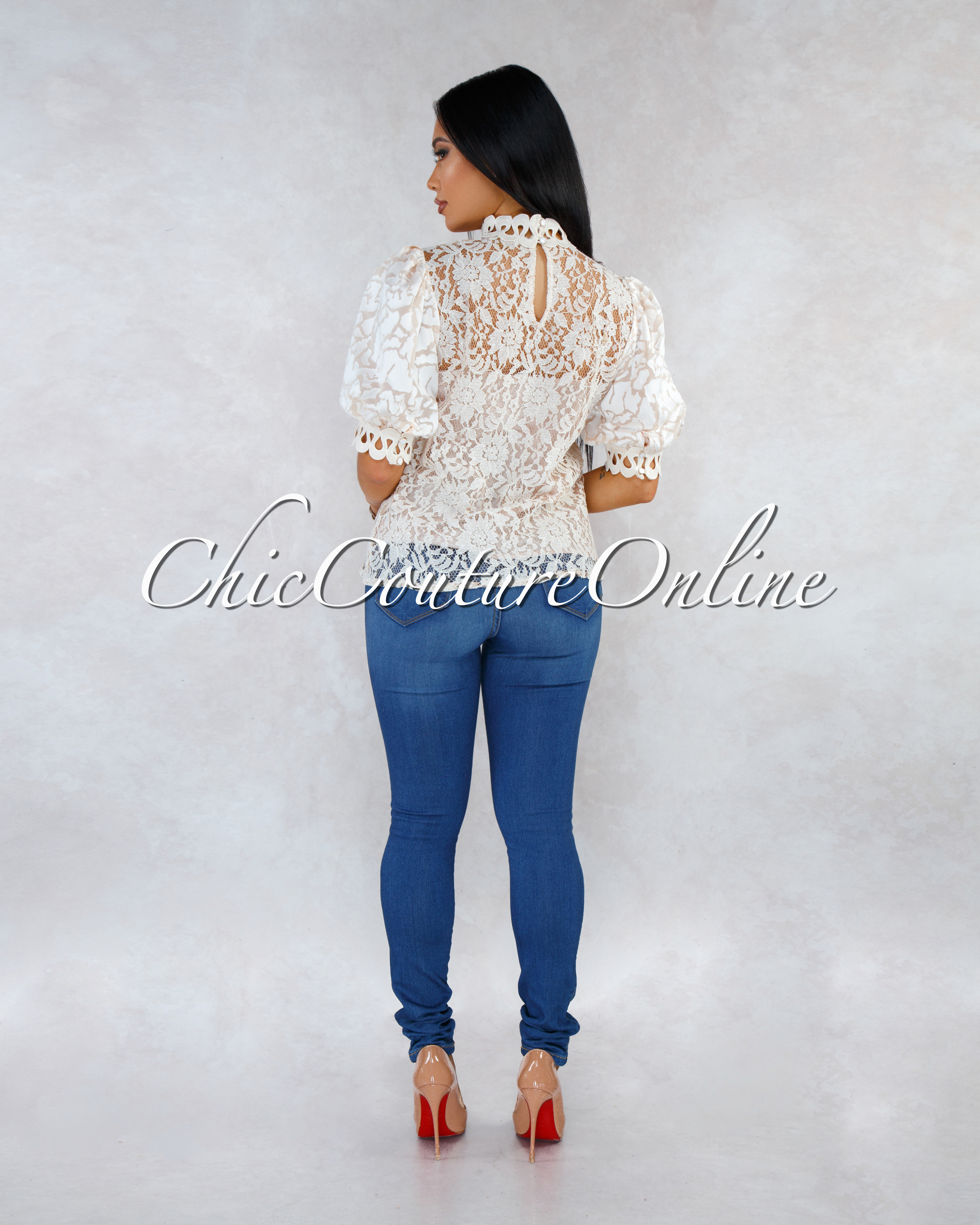 Picasso Nude Lace Nude Illusion Puffy Sleeves Blouse