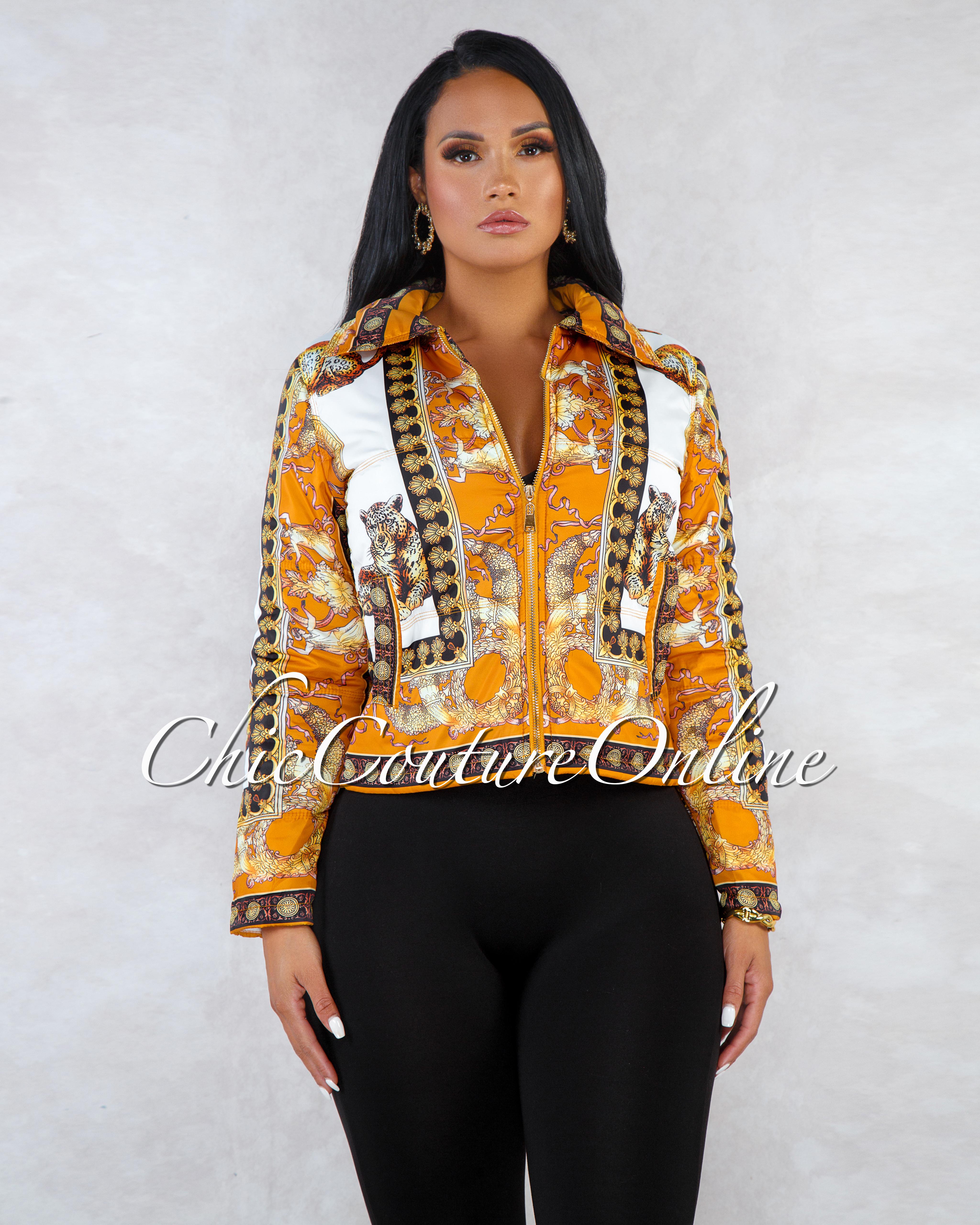 Faye Mustard Gold Leopard Print Down Jacket