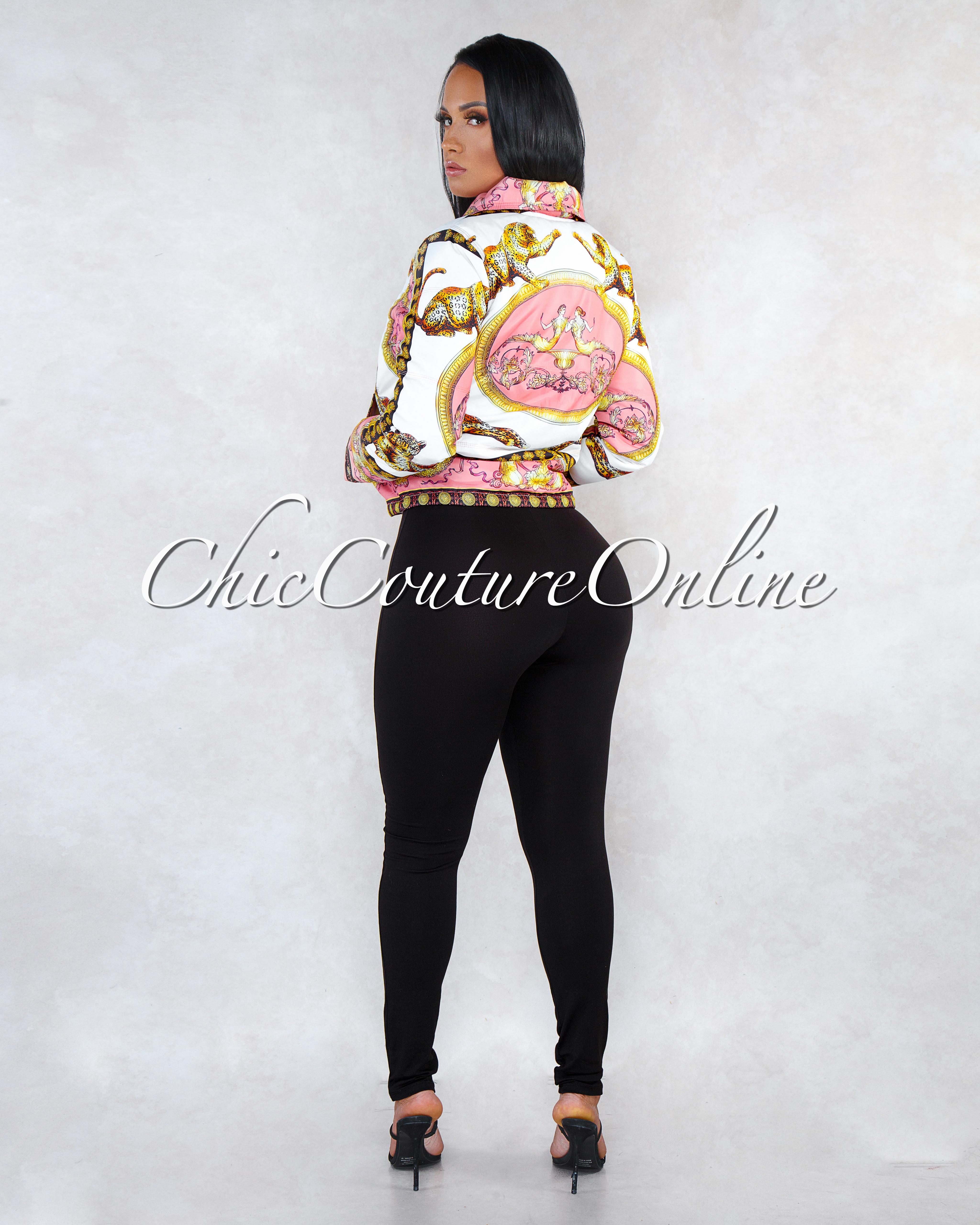 Faye Pink Gold Leopard Print Down Jacket