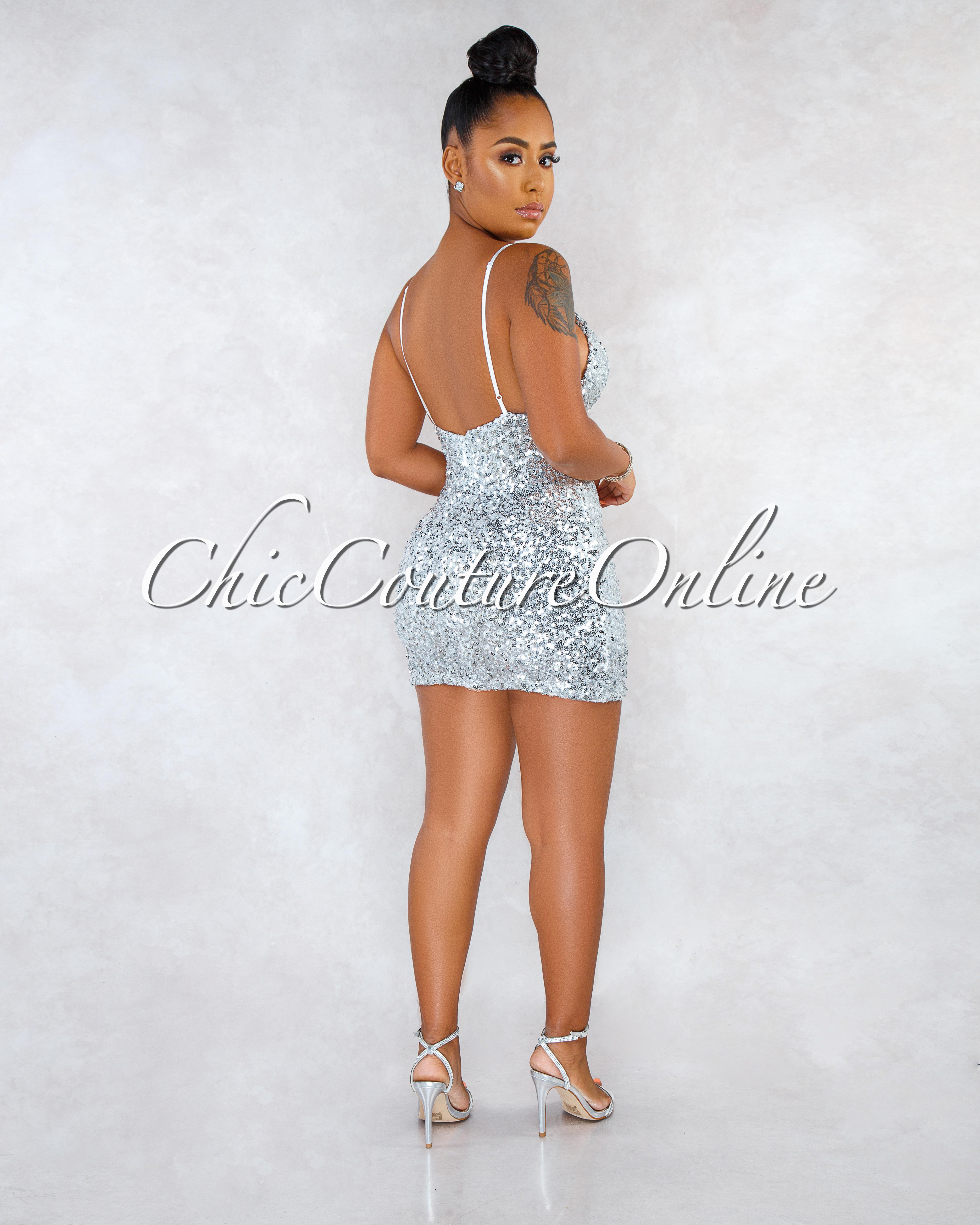 Taya Silver Sequins Ultra Mini Dress